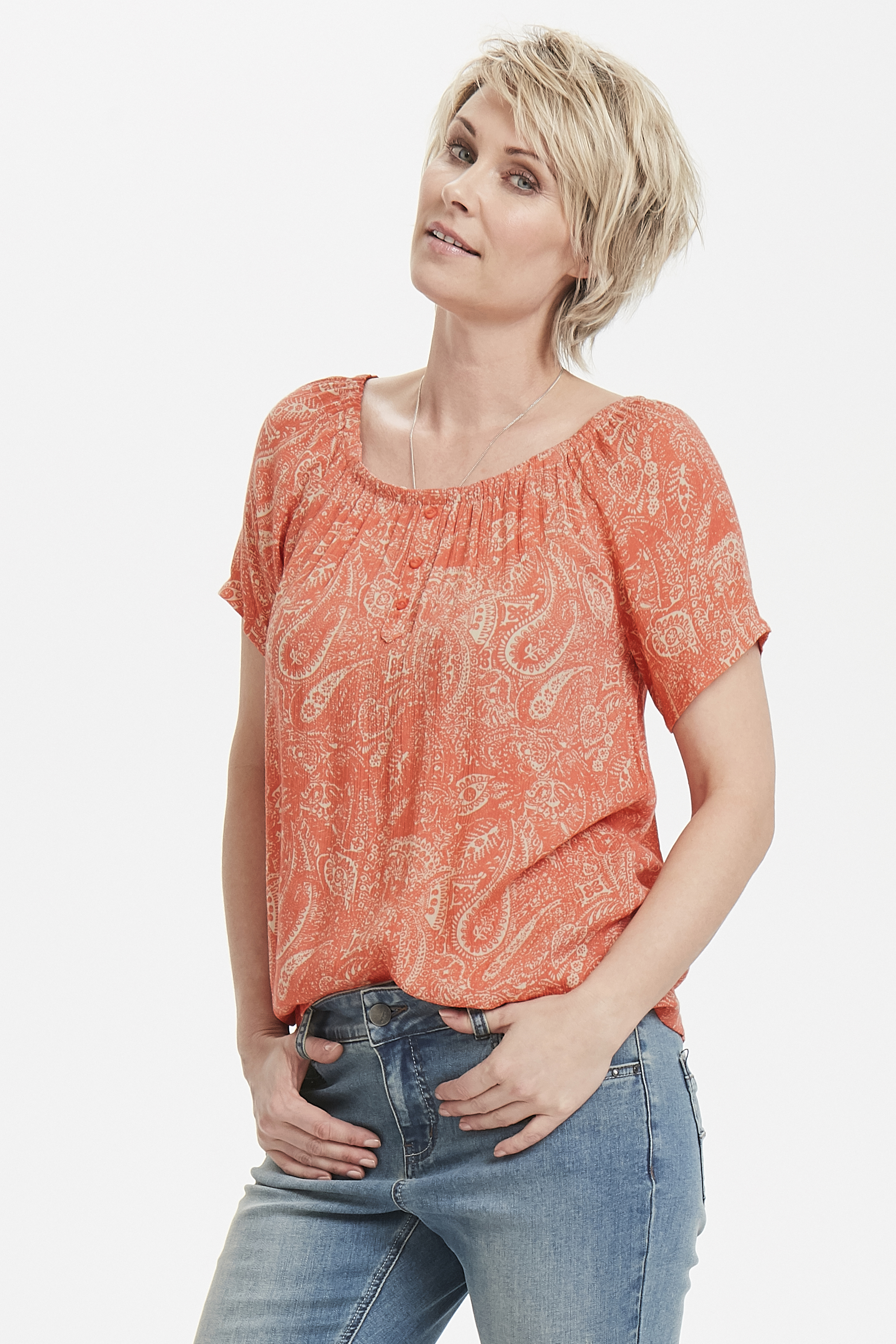 Koralle/creme Bluse von Bon'A Parte – Shoppen Sie Koralle/creme Bluse ab Gr. S-2XL hier