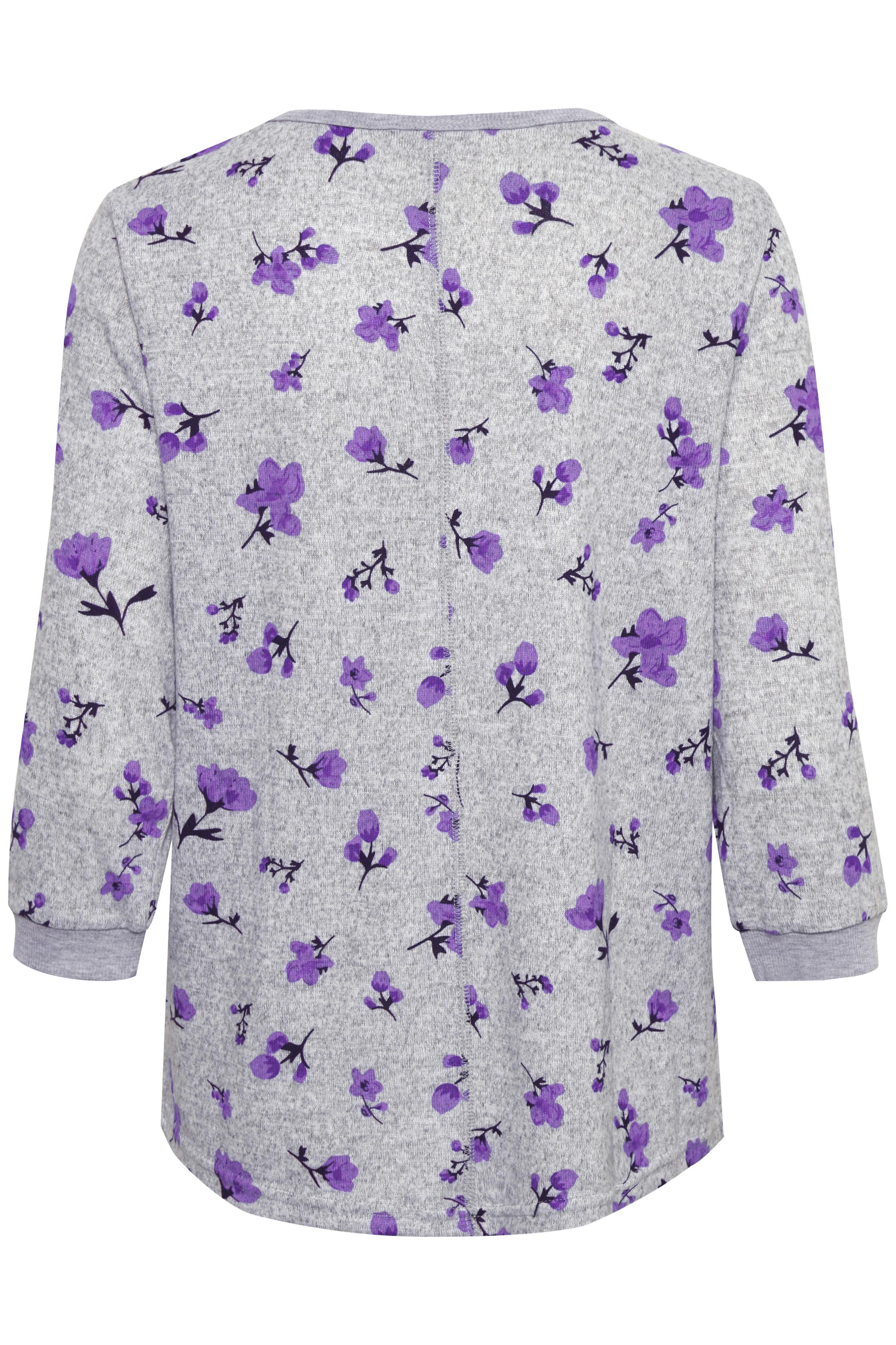 Licht grijsgemêleerd/paars Shirt van Fransa – Door Licht grijsgemêleerd/paars Shirt van maat. XS-XXL hier