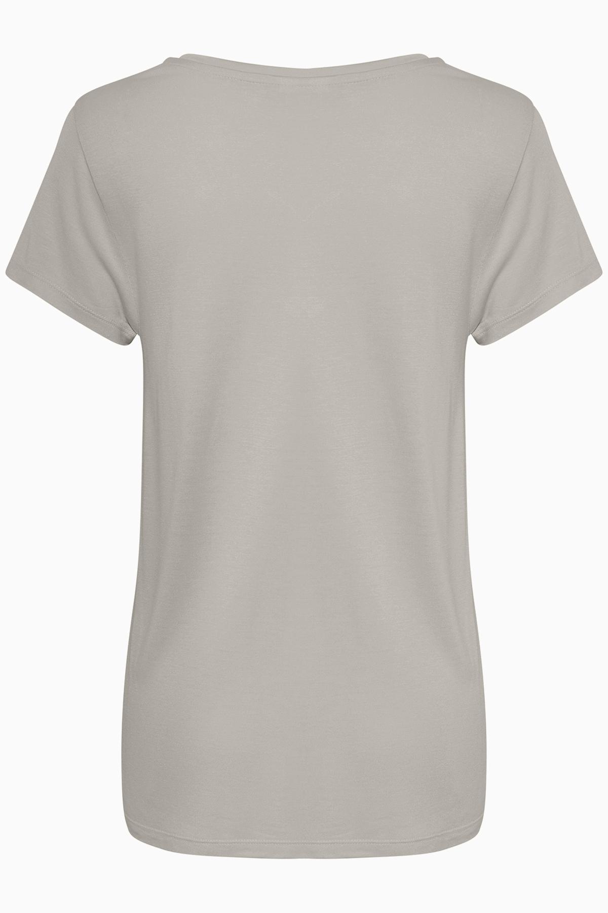 Licht grijsgemêleerd T-shirt korte mouw van Kaffe – Door Licht grijsgemêleerd T-shirt korte mouw van maat. XS-XXL hier