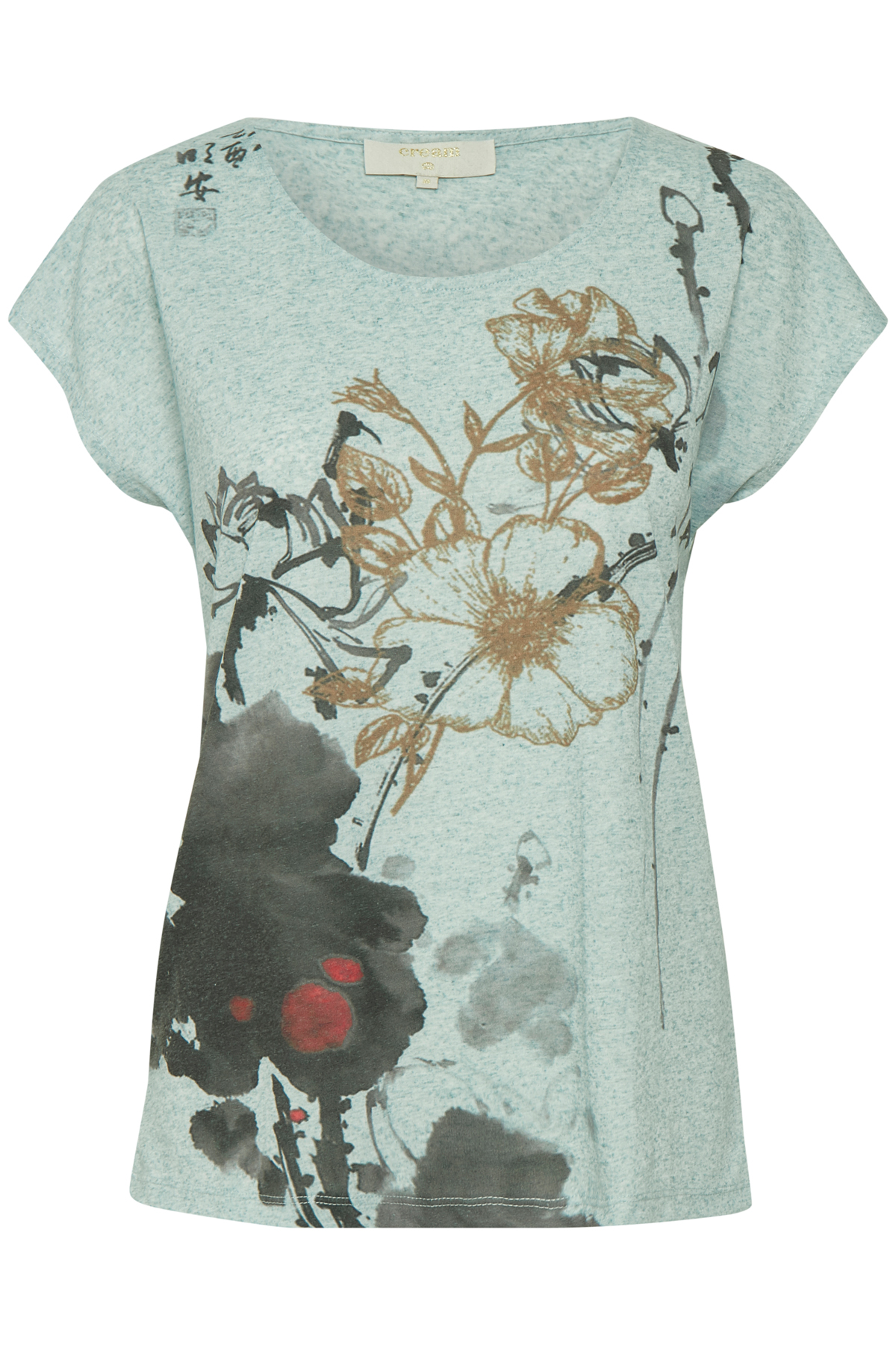 Cream Dame T-shirt korte mouw - Licht turquoise