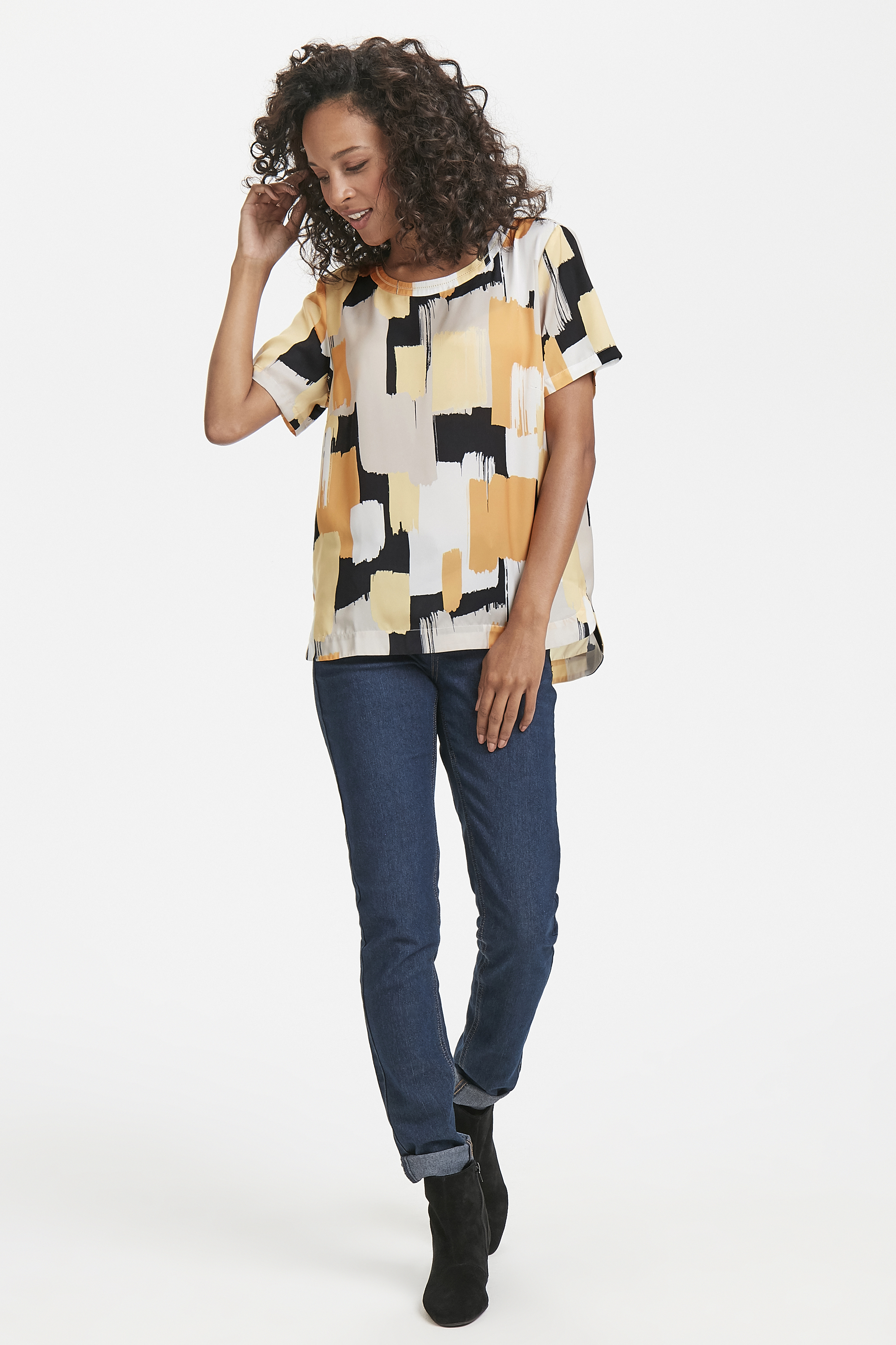 Lichtgrijs/geel Korte mouwen shirt  van Pulz Jeans – Door Lichtgrijs/geel Korte mouwen shirt  van maat. XS-XXL hier