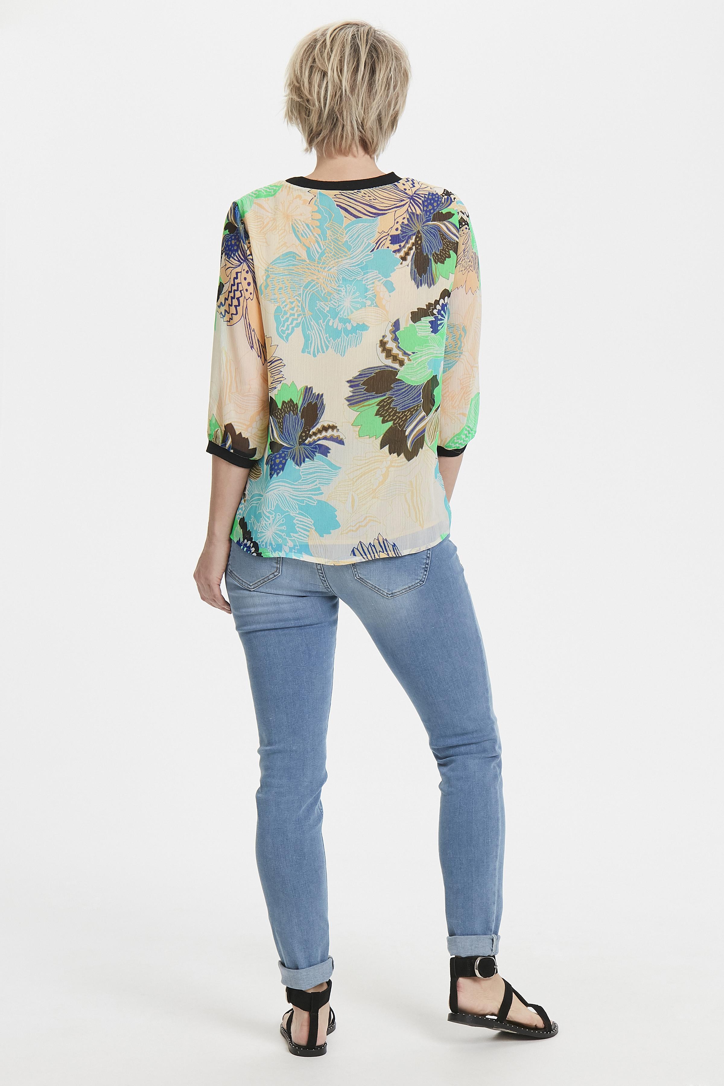 Lichtzand/blauw Shirt van Pulz Jeans – Door Lichtzand/blauw Shirt van maat. XS-XXL hier