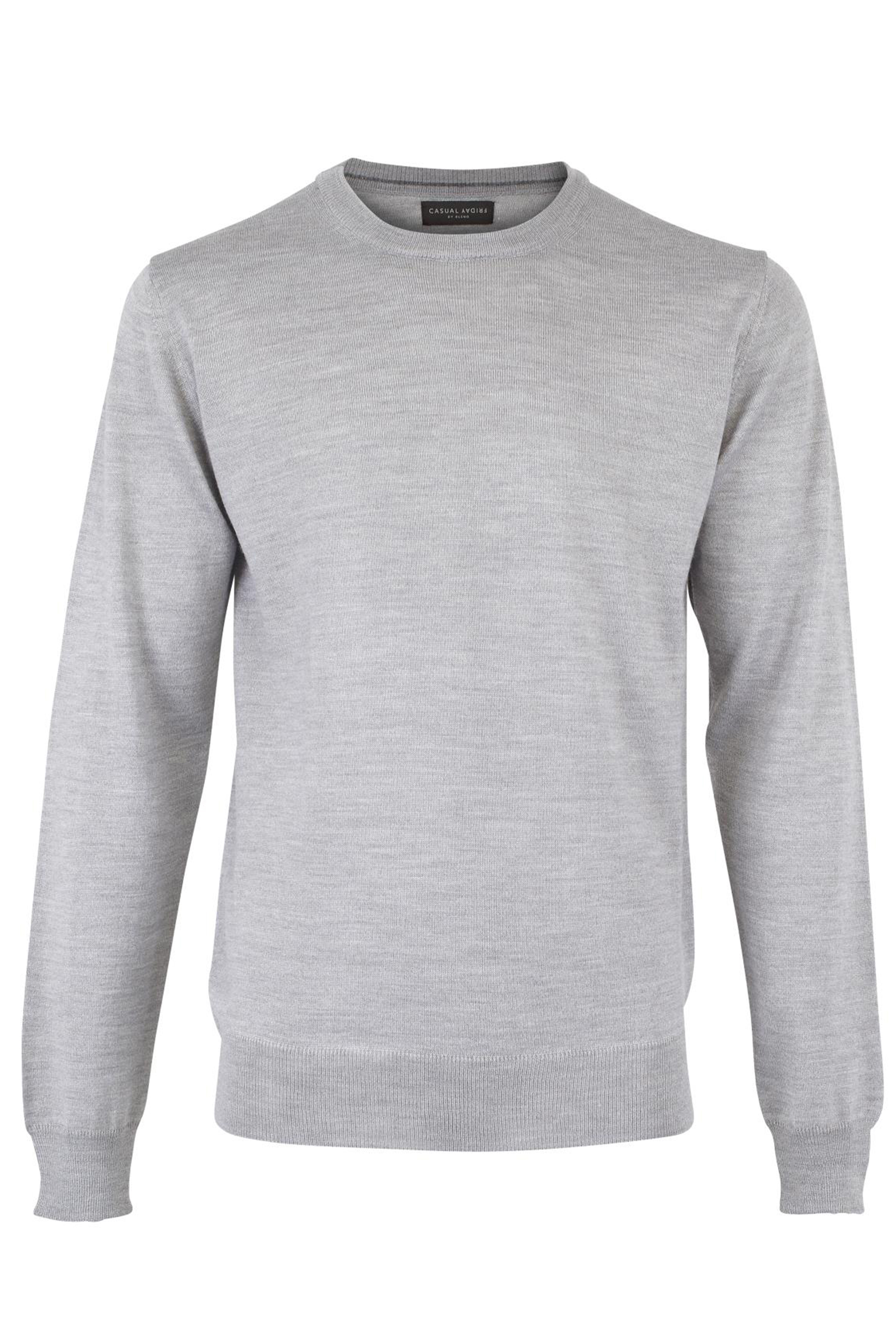 Light grey melange Strikpullover fra Casual Friday – Køb Light grey melange Strikpullover fra str. S-XXL her