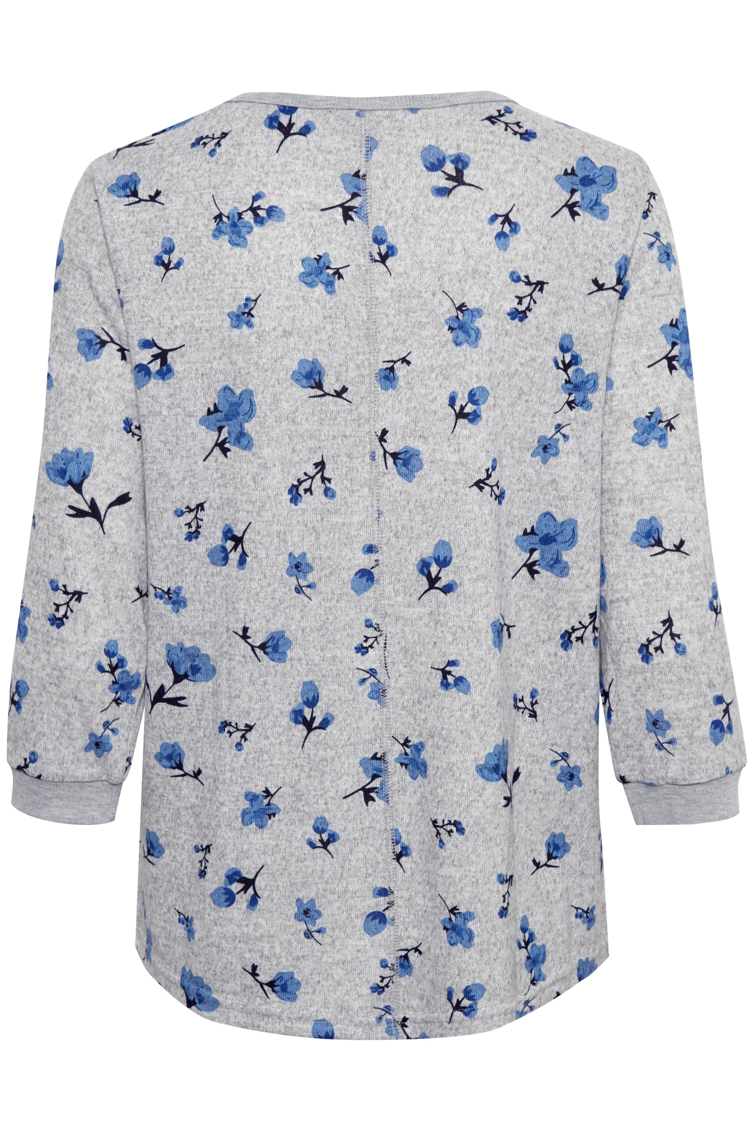Ljus gråmelerad/blå Blus från Fransa – Köp Ljus gråmelerad/blå Blus från stl. XS-XXL här