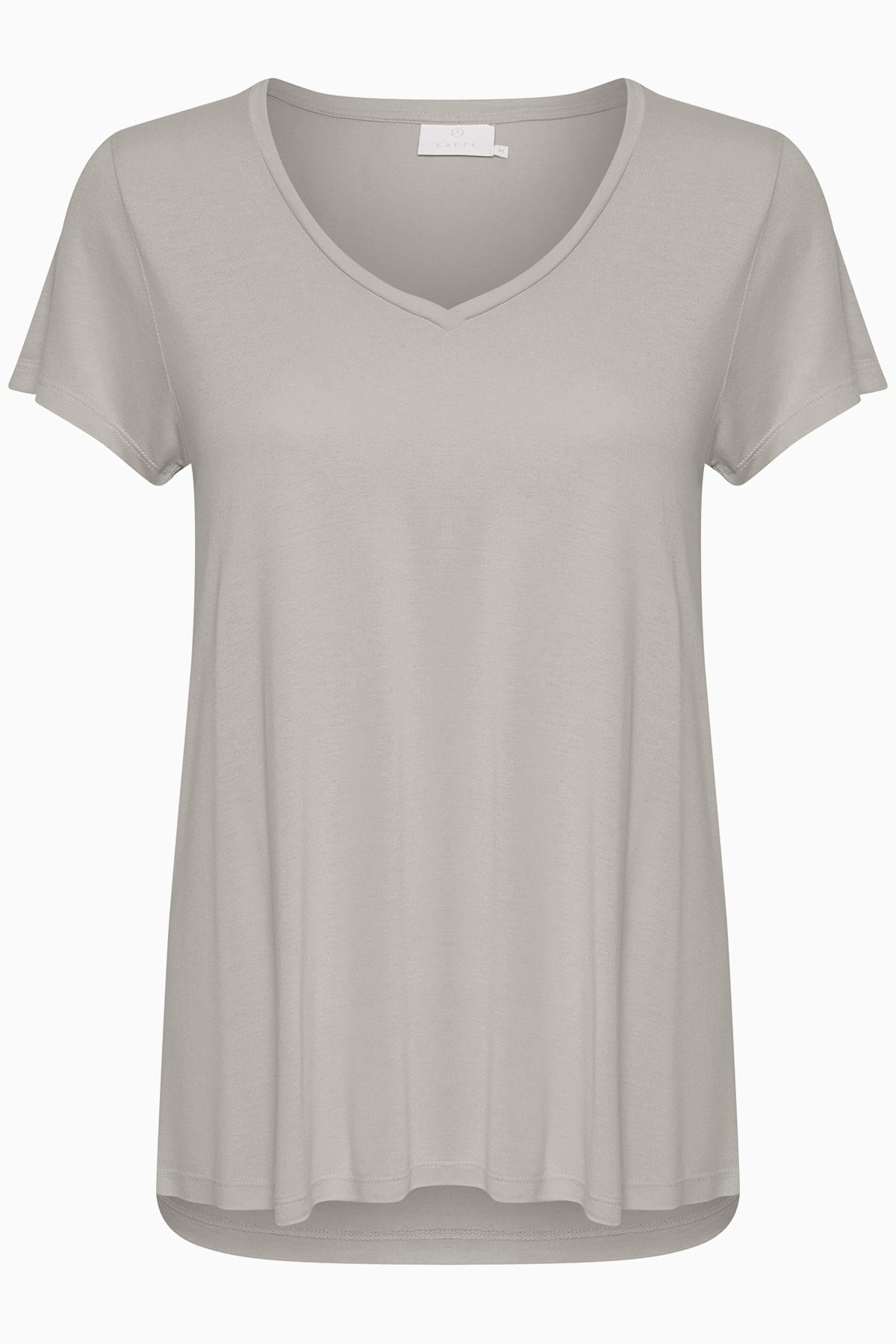 Ljus gråmelerad Kortärmad T-shirt från Kaffe – Köp Ljus gråmelerad Kortärmad T-shirt från stl. XS-XXL här