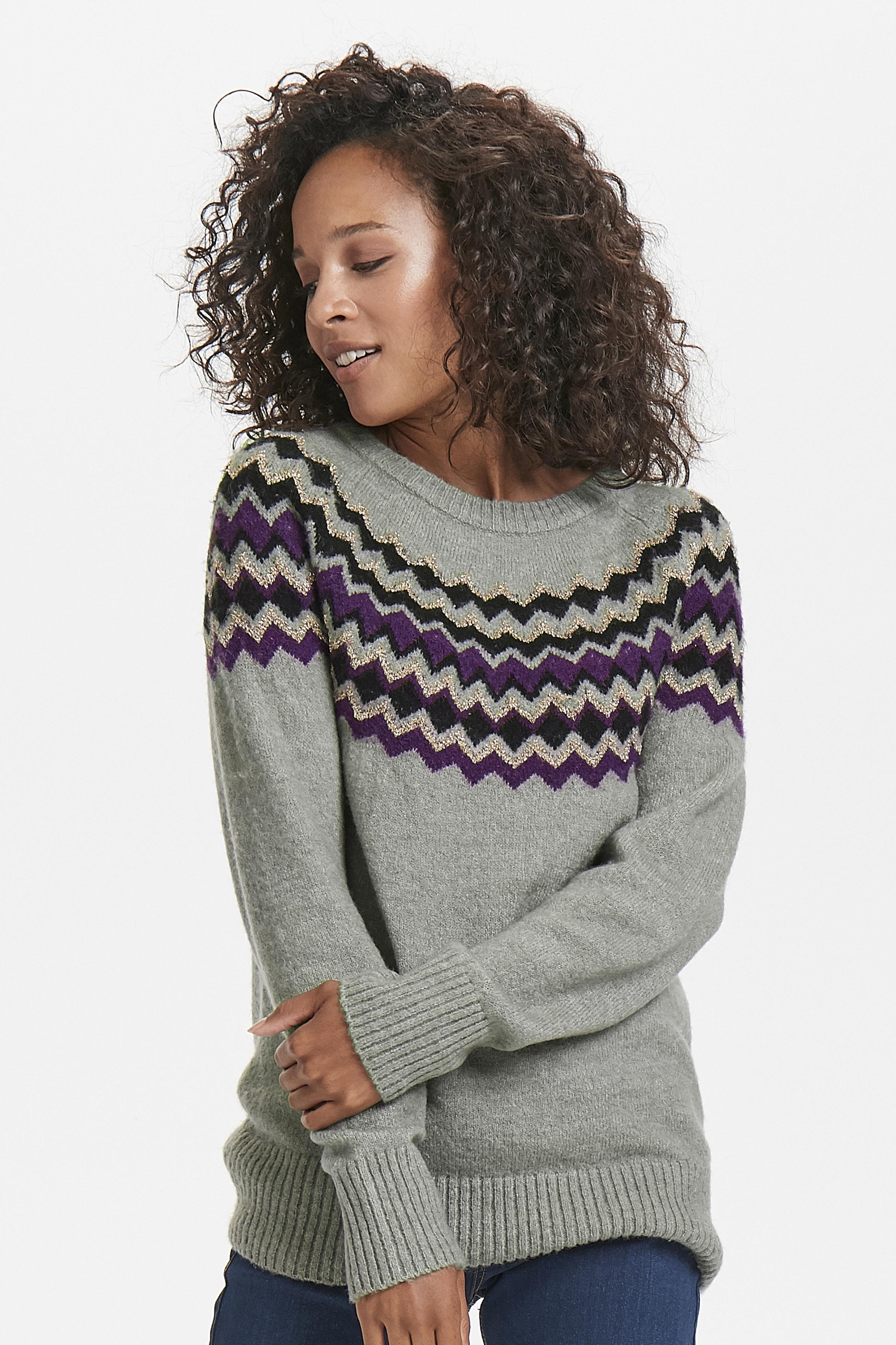 Ljus gråmelerad/lila Stickad pullover från Fransa – Köp Ljus gråmelerad/lila Stickad pullover från stl. XS-XXL här