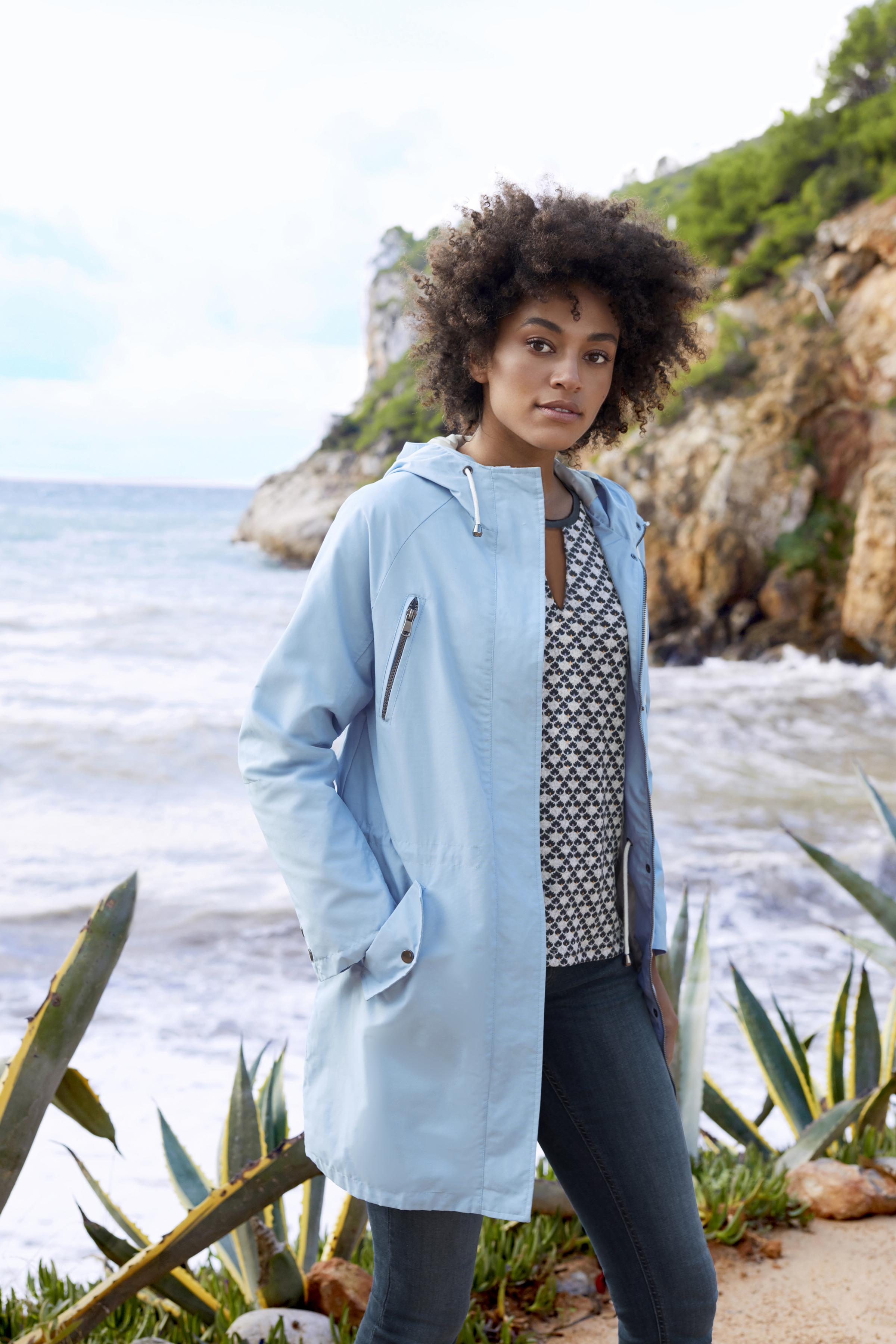 Ljus gråmelerad/marinblå Blus från Fransa – Köp Ljus gråmelerad/marinblå Blus från stl. XS-XXL här