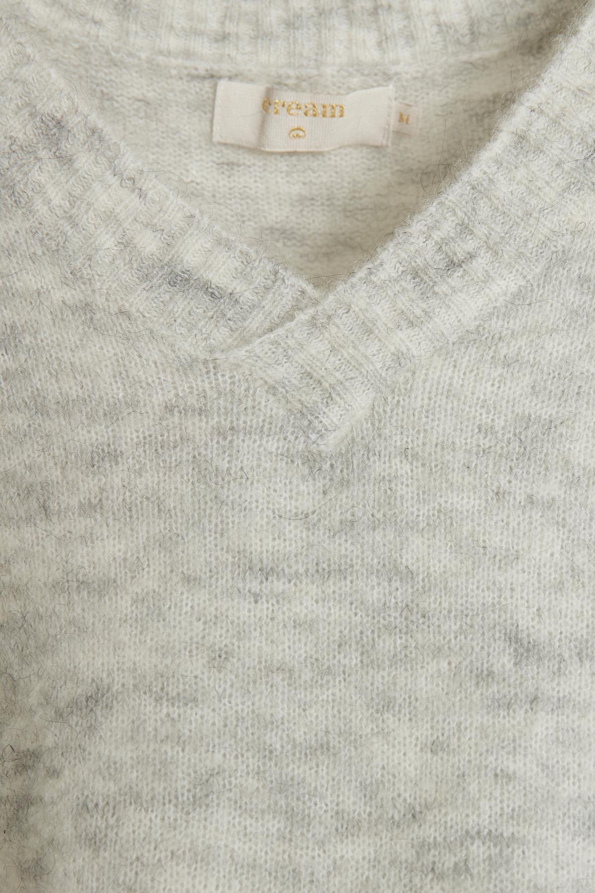 Ljus gråmelerad Stickad pullover från Cream – Köp Ljus gråmelerad Stickad pullover från stl. XS-XXL här