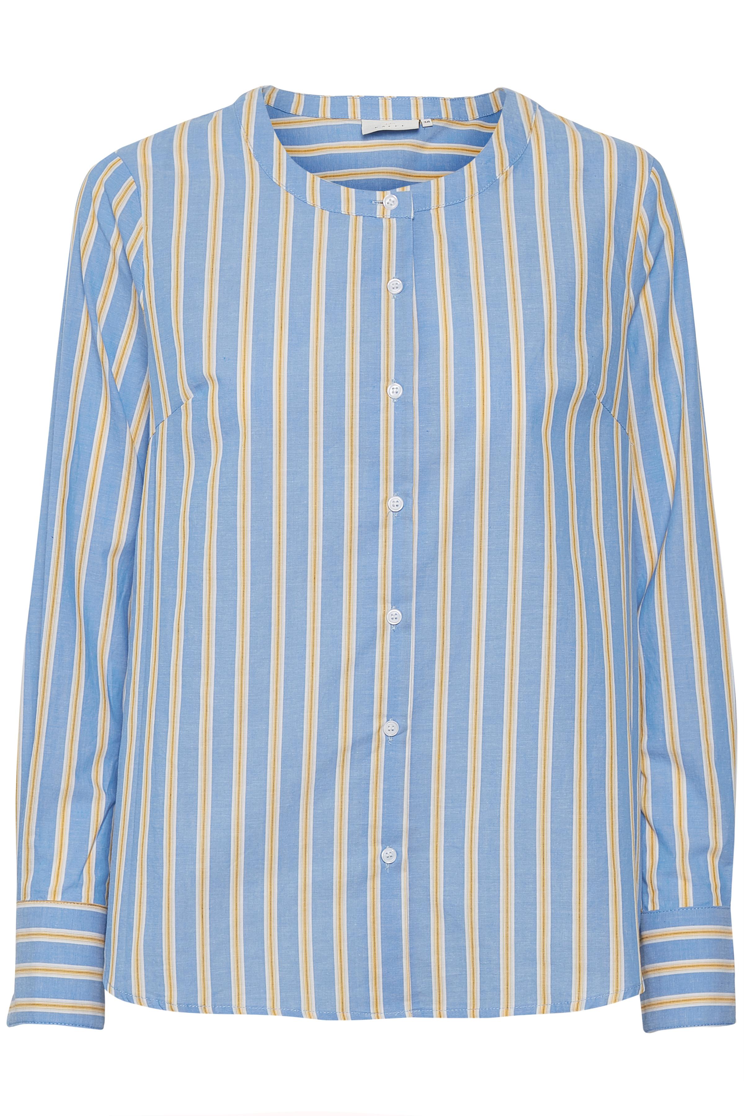 Ljusblå/gul Långärmad skjorta från Kaffe – Köp Ljusblå/gul Långärmad skjorta från stl. 34-46 här