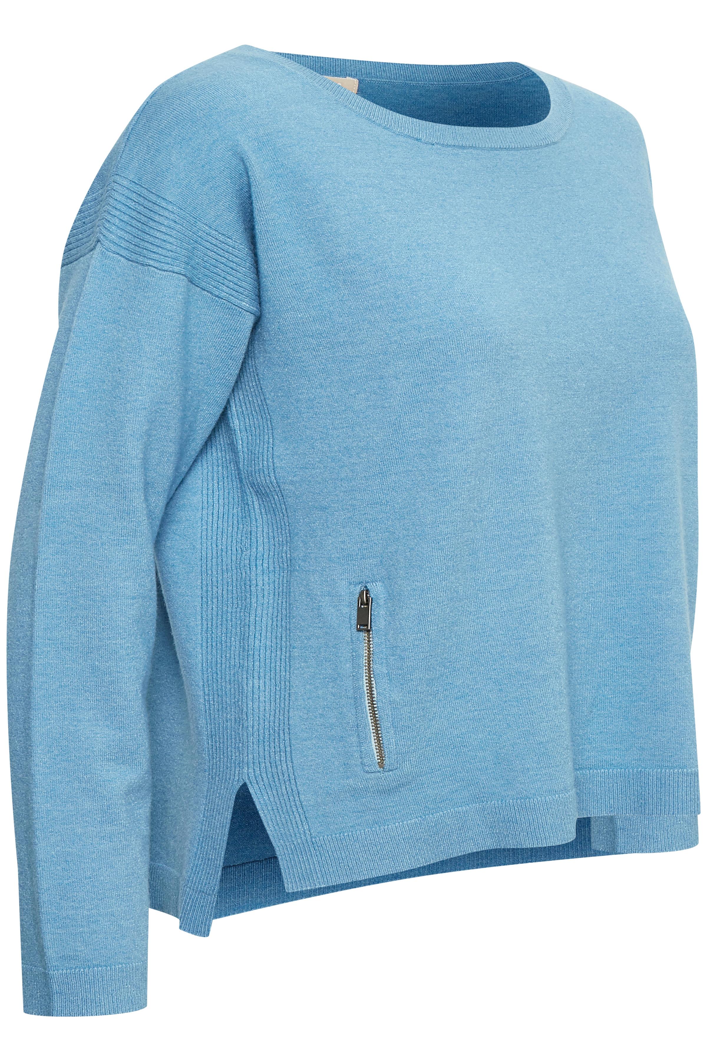 Ljusblå Stickad pullover från Bon'A Parte – Köp Ljusblå Stickad pullover från stl. S-2XL här