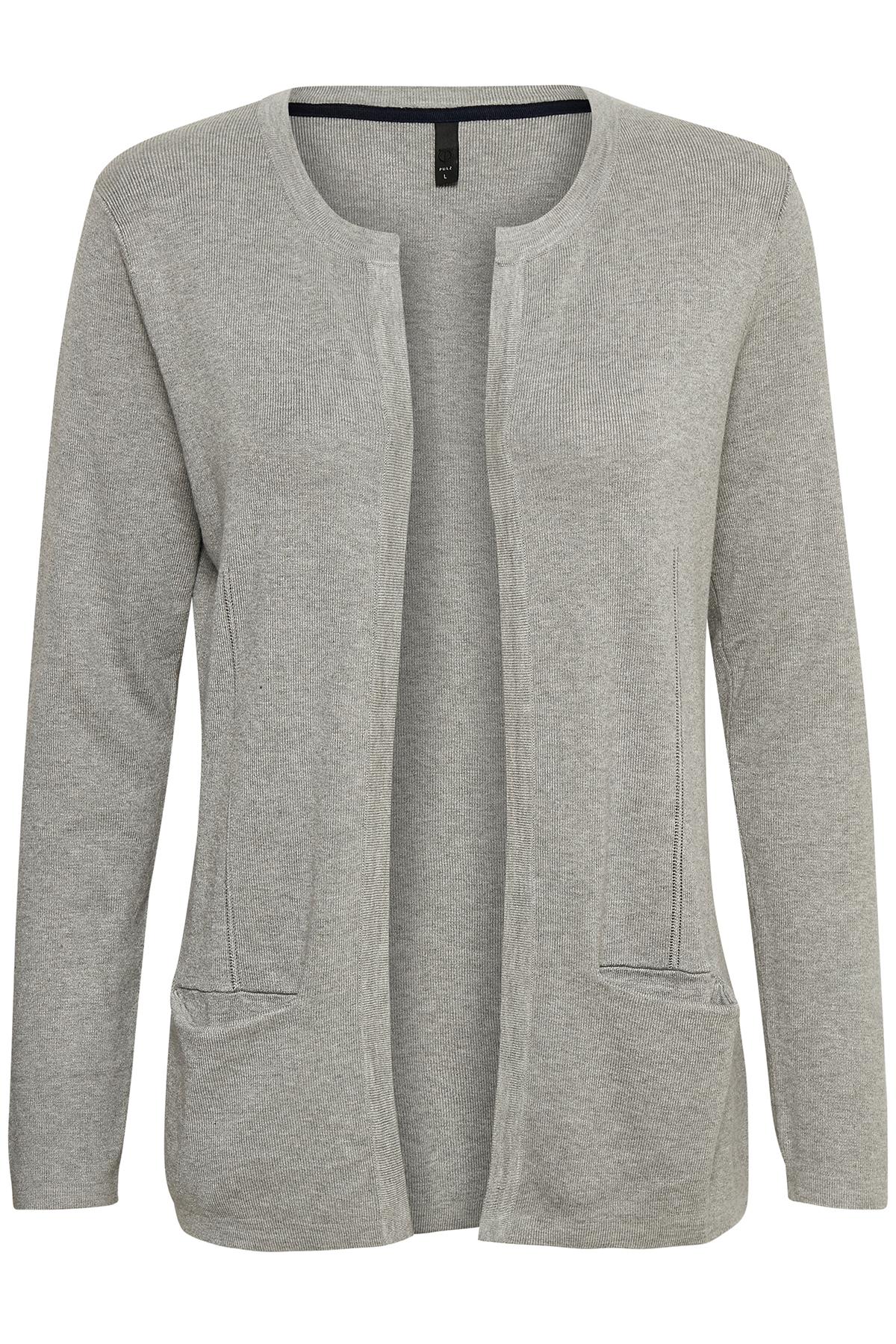 Lys gråmeleret Cardigan fra Pulz Jeans – Køb Lys gråmeleret Cardigan fra str. XS-XXL her