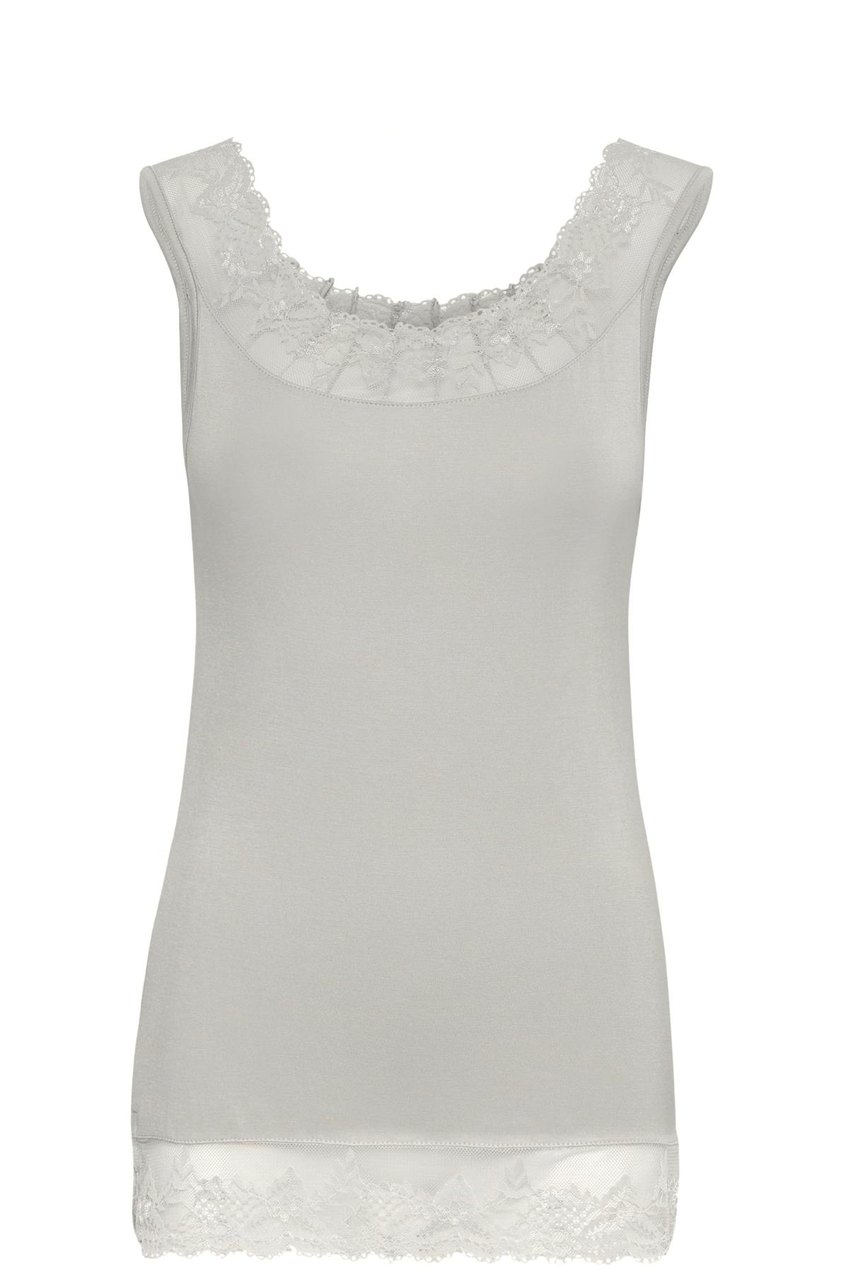 Image of Cream Dame Jerseytop - Lys gråmeleret