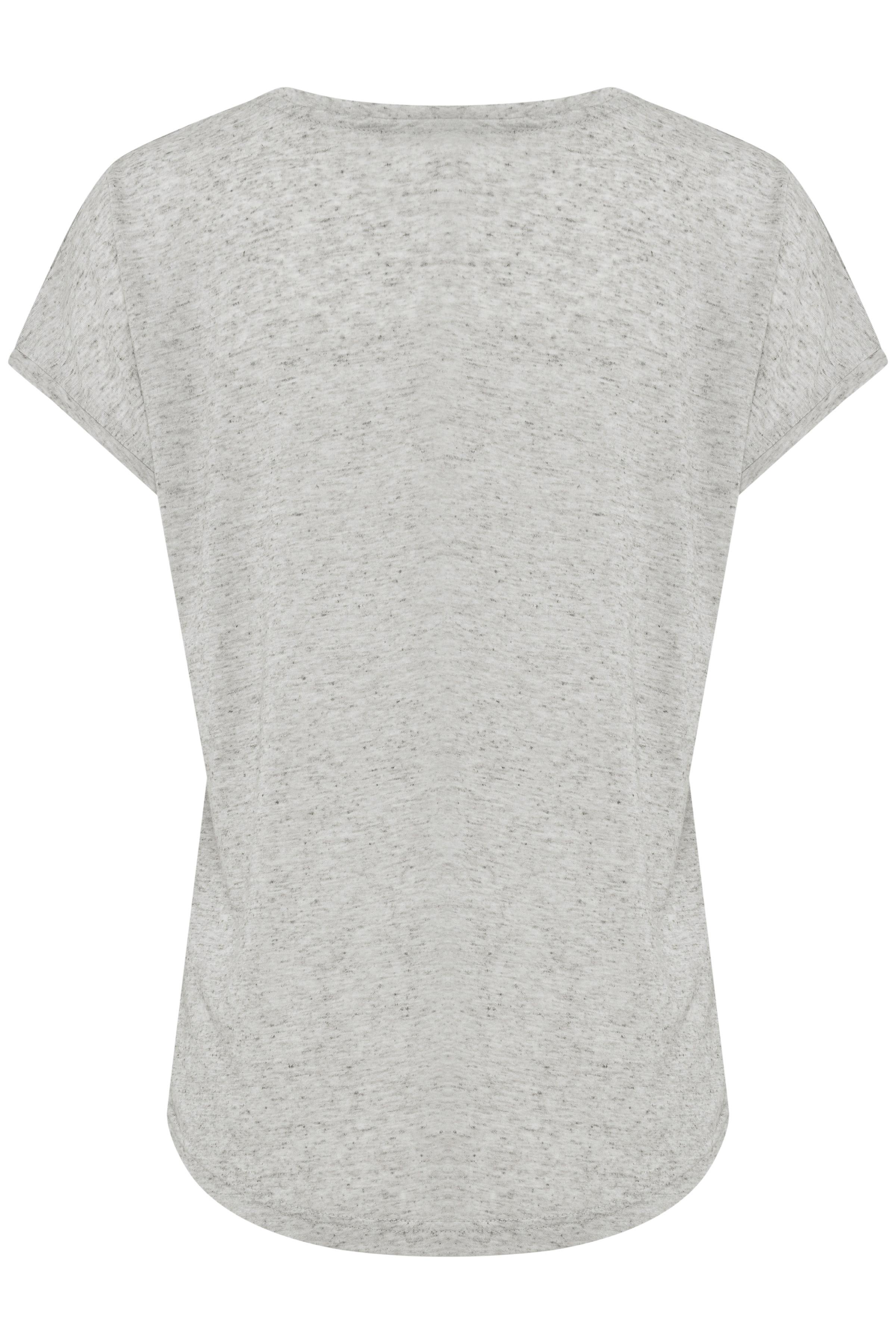 Lys gråmeleret Kortærmet T-shirt fra b.young – Køb Lys gråmeleret Kortærmet T-shirt fra str. XS-XXL her