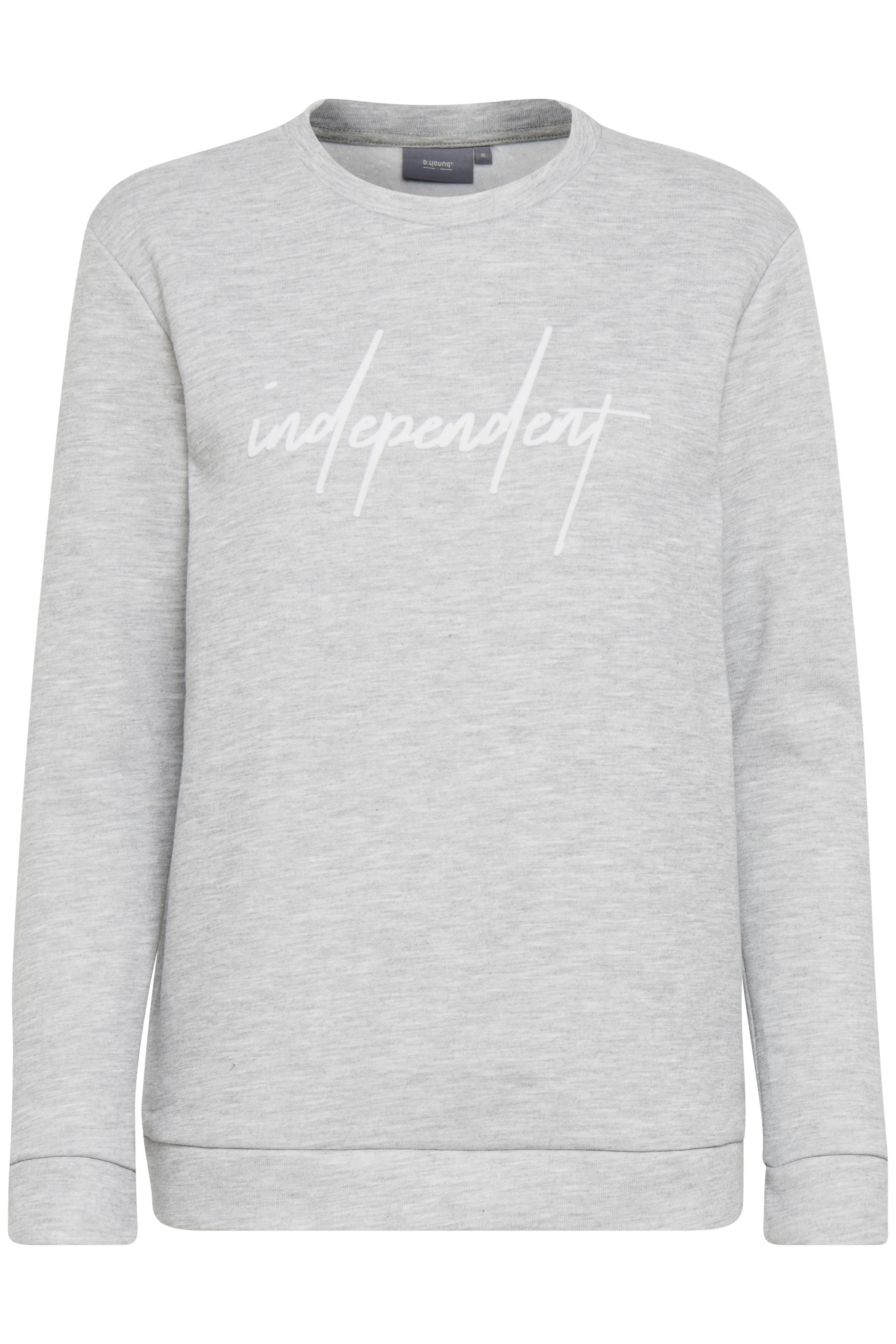 Lys gråmeleret Sweatshirt fra b.young – Køb Lys gråmeleret Sweatshirt fra str. XS-XXL her