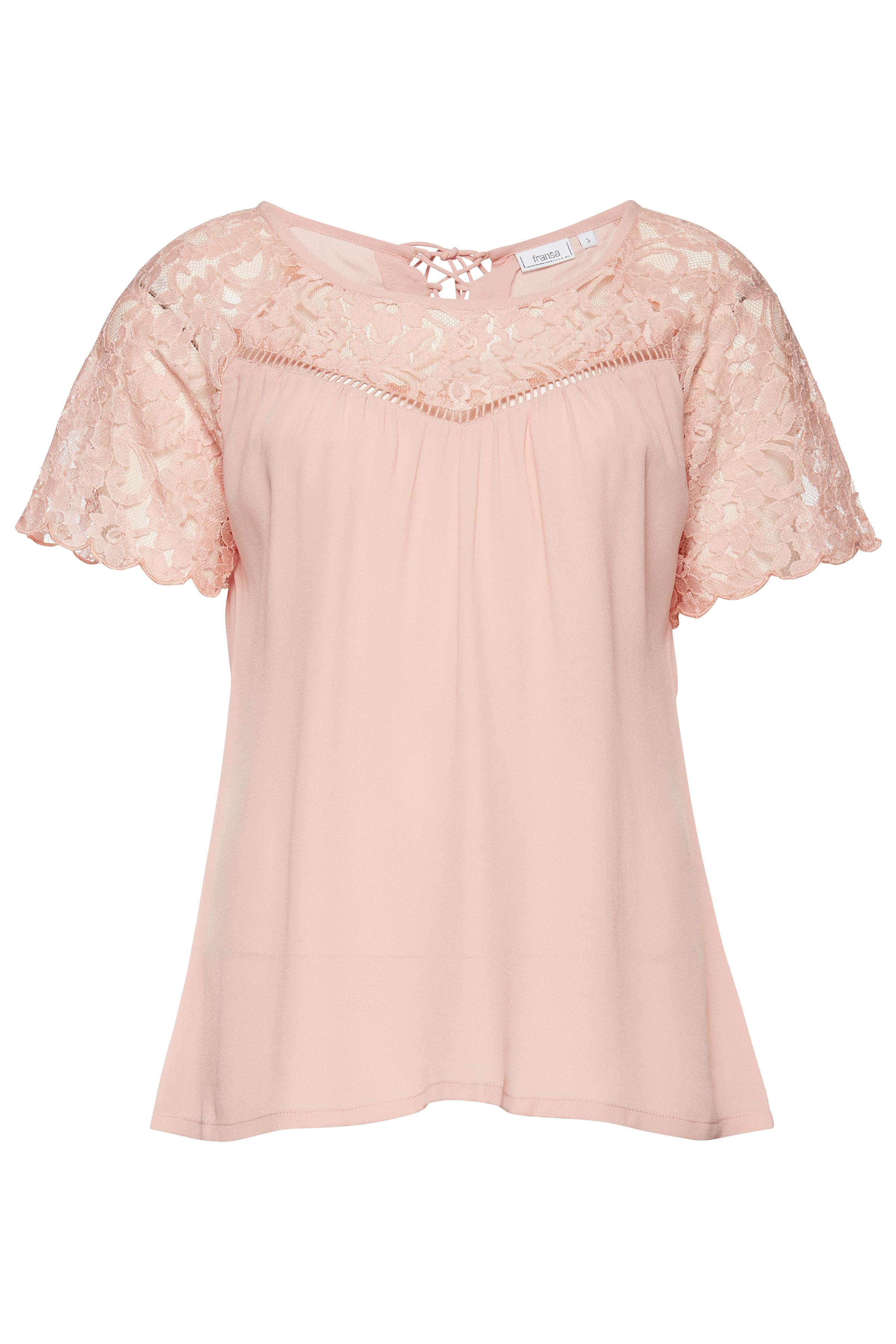 Fransa Dame Kortærmet T-shirt - Lys koral