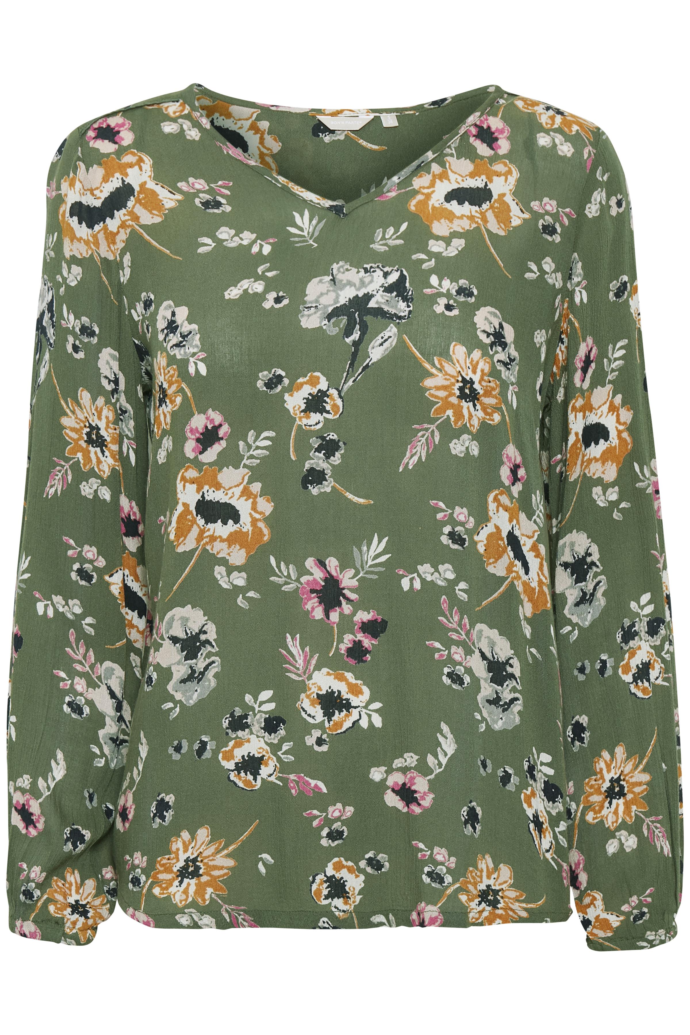 Lys oliven Langærmet bluse  fra Bon'A Parte – Køb Lys oliven Langærmet bluse  fra str. S-2XL her