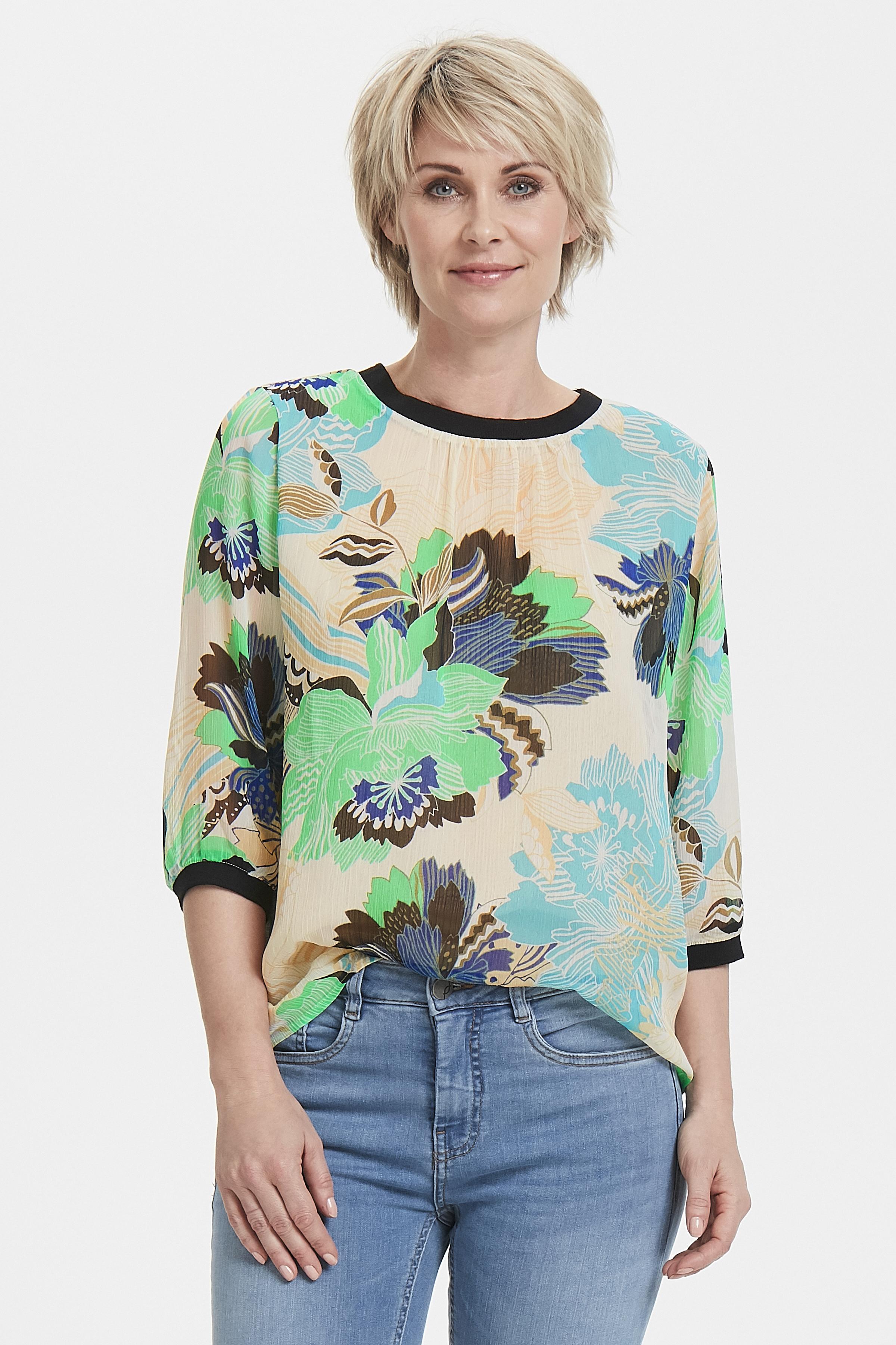 Lys sand/blå Bluse fra Pulz Jeans – Køb Lys sand/blå Bluse fra str. XS-XXL her