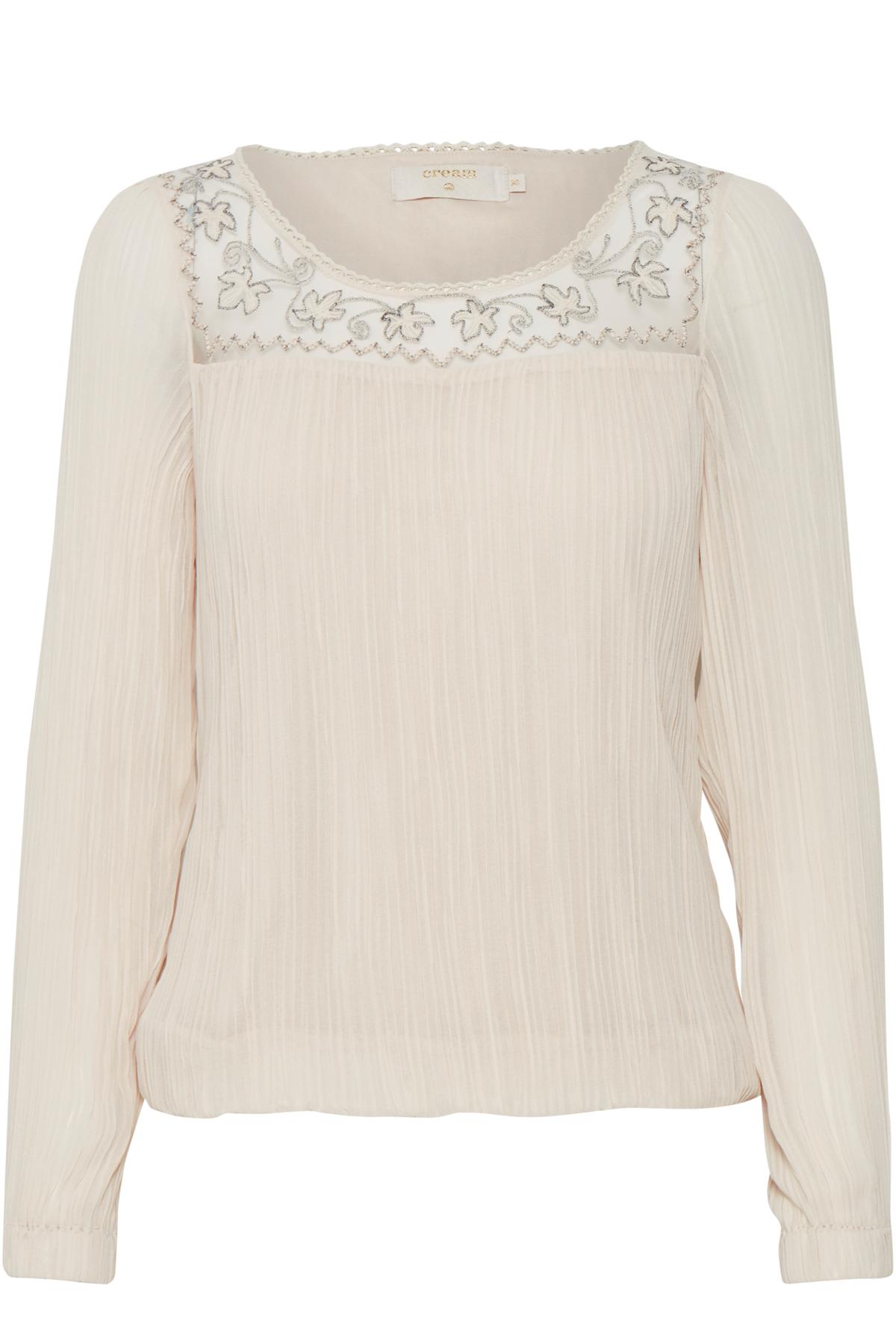 Image of Cream Dame Langærmet bluse - Lys sand