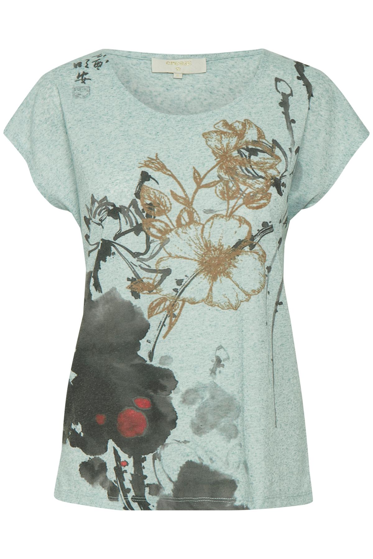 Image of Cream Dame Kortærmet Ally T-shirt - Lys turkis