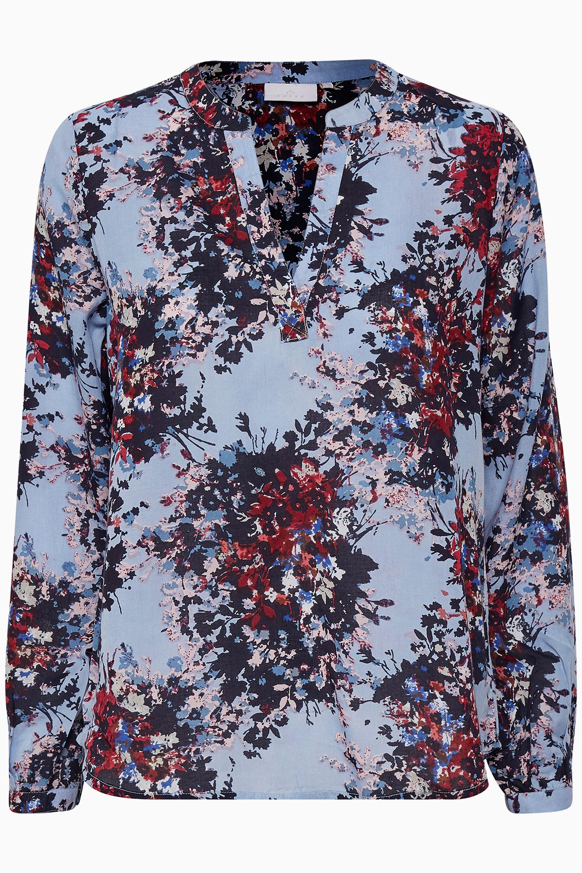 Lyseblå/bordeaux Langærmet bluse fra Kaffe – Køb Lyseblå/bordeaux Langærmet bluse fra str. 34-46 her