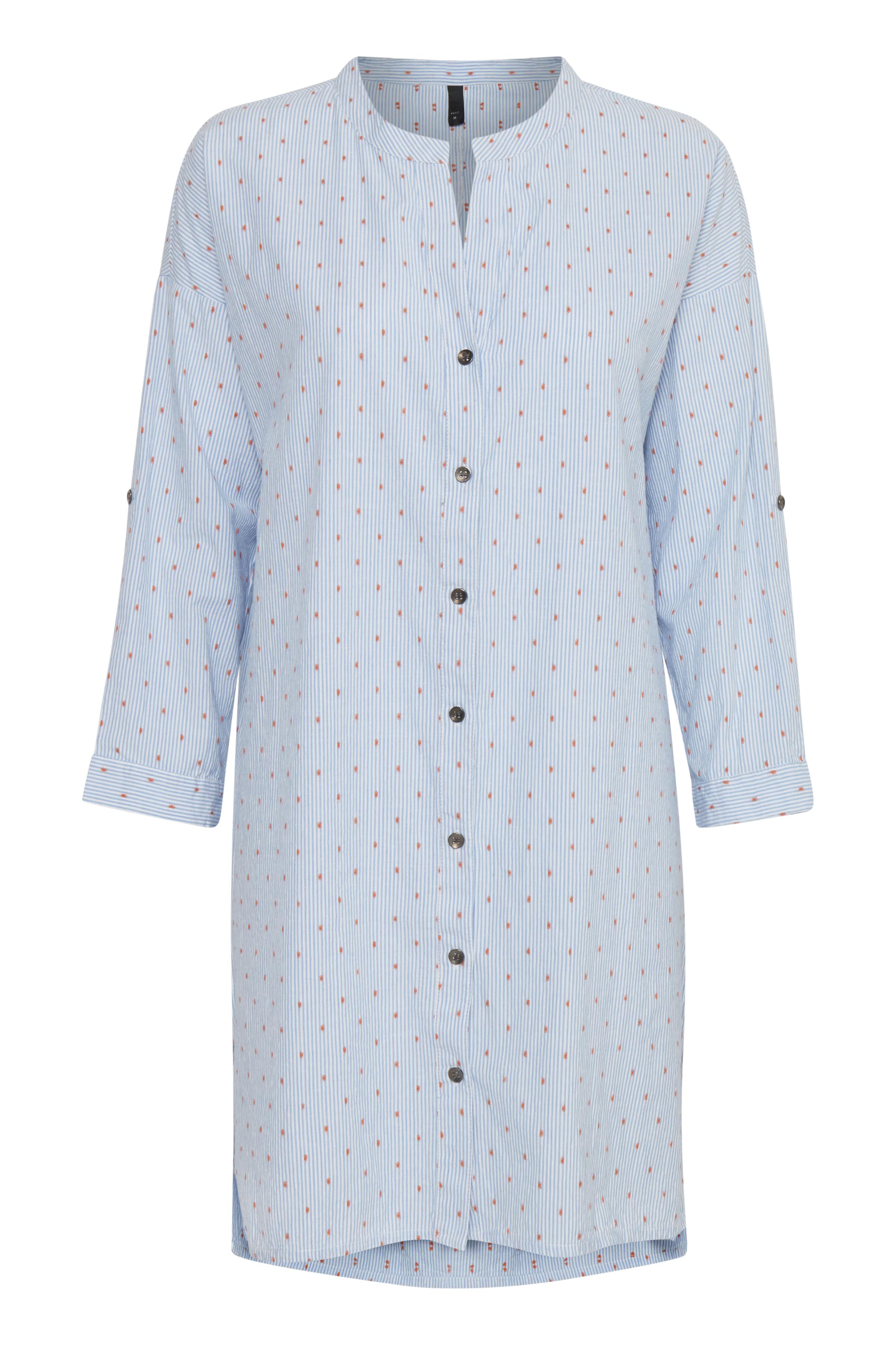Lyseblå/hvid Skjorte   fra Pulz Jeans – Køb Lyseblå/hvid Skjorte   fra str. XS-XXL her