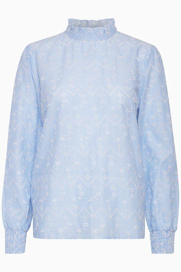 Moderne Lyseblå Langærmet bluse fra b.young – Køb Lyseblå Langærmet bluse AZ-47