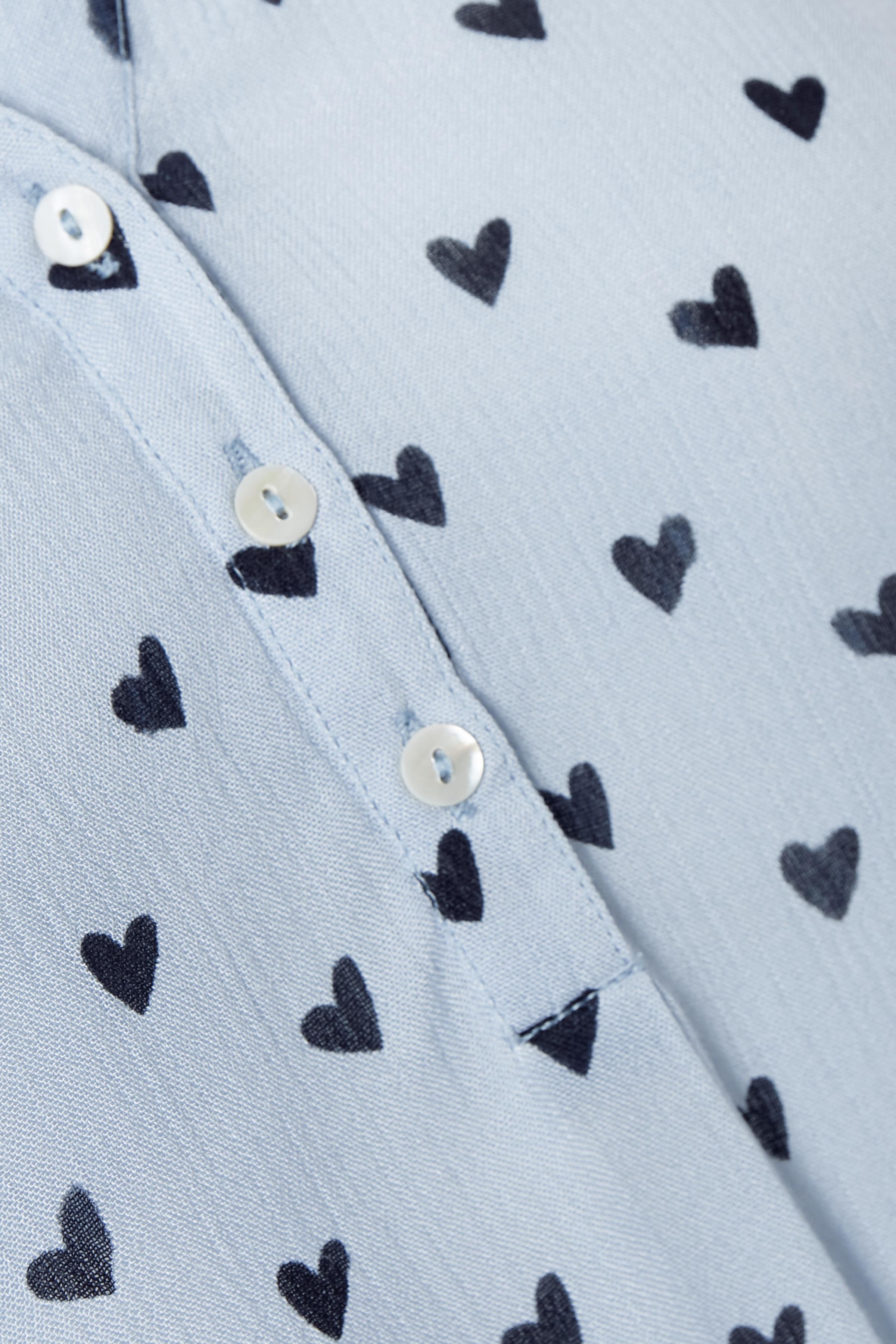 Lyseblå/marineblå Langærmet bluse  fra Kaffe – Køb Lyseblå/marineblå Langærmet bluse  fra str. 34-46 her