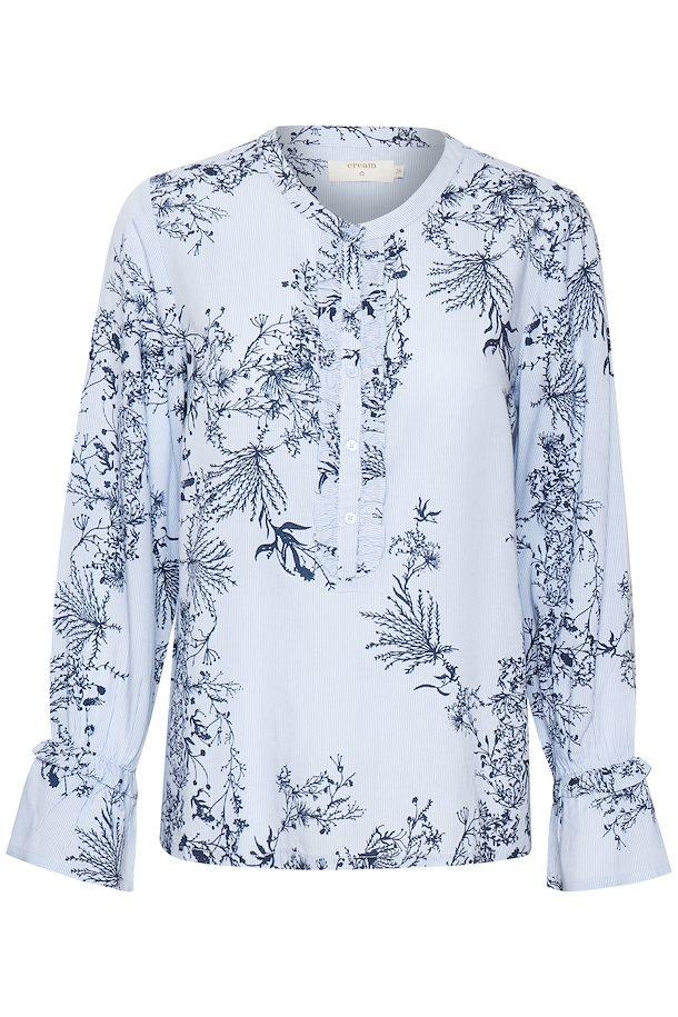 7c107e79 Lyseblå/mørkeblå Langærmet bluse fra Cream – Køb Lyseblå/mørkeblå Langærmet  bluse fra str. 34-46 her