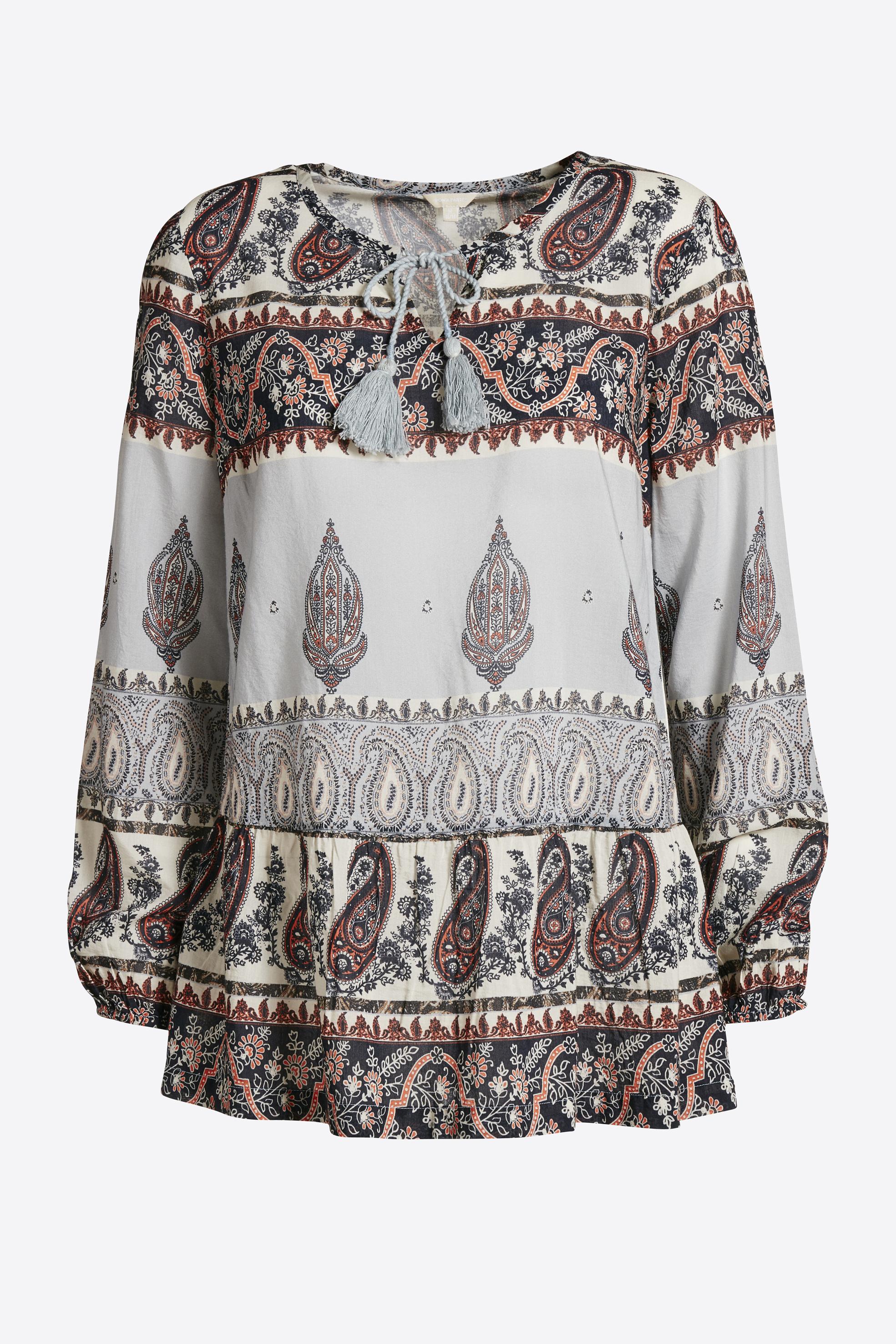 Lyseblå/terracotta Langærmet bluse fra Bon'A Parte – Køb Lyseblå/terracotta Langærmet bluse fra str. S-3XL her