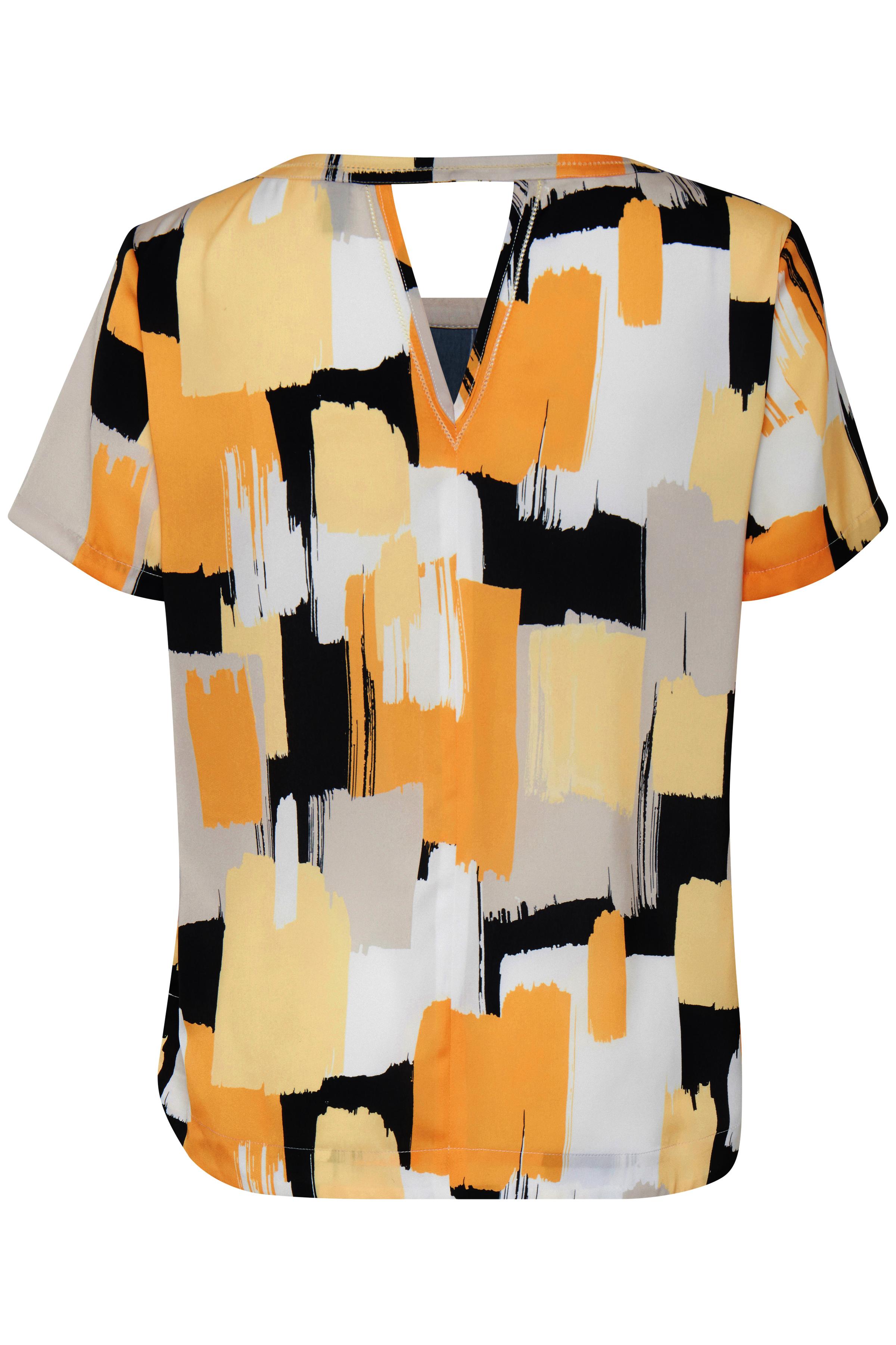 Lysegrå/gul Kortærmet bluse  fra Pulz Jeans – Køb Lysegrå/gul Kortærmet bluse  fra str. XS-XXL her