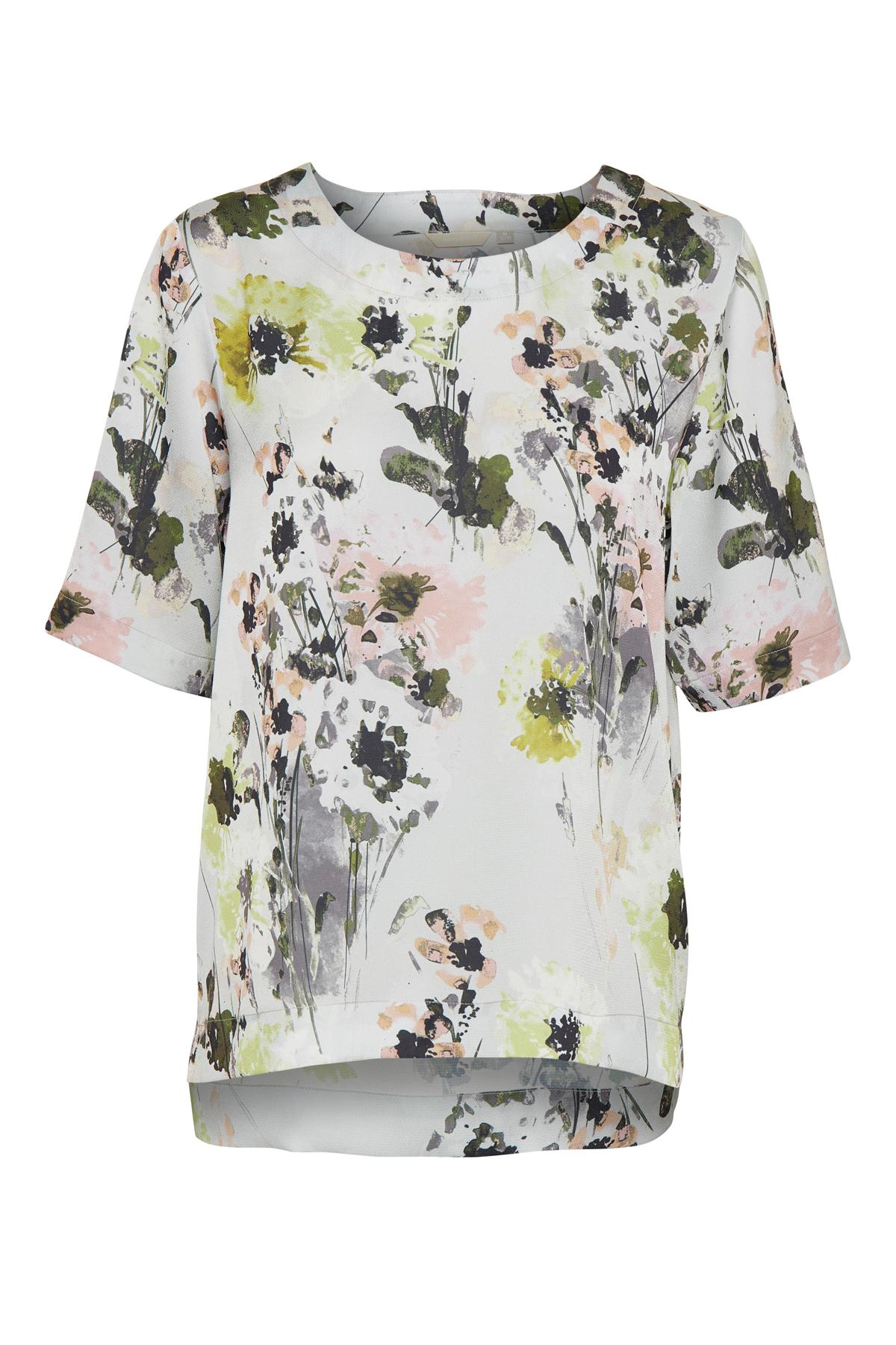 Lysegrå/rosa Kortærmet bluse fra Bon'A Parte – Køb Lysegrå/rosa Kortærmet bluse fra str. S-2XL her