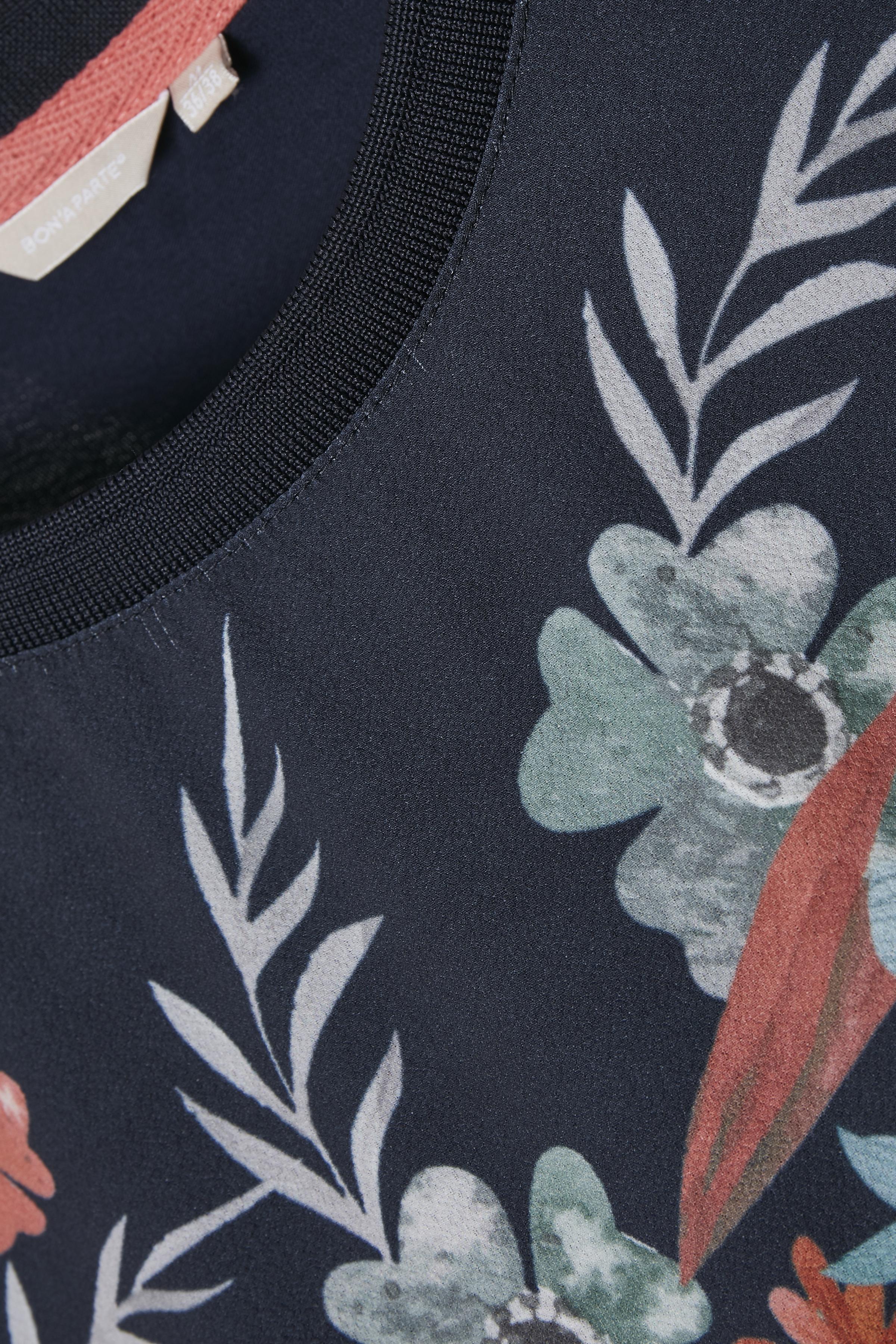 Marinblå/dim korall Kortärmad blus  från Bon'A Parte – Köp Marinblå/dim korall Kortärmad blus  från stl. S-2XL här
