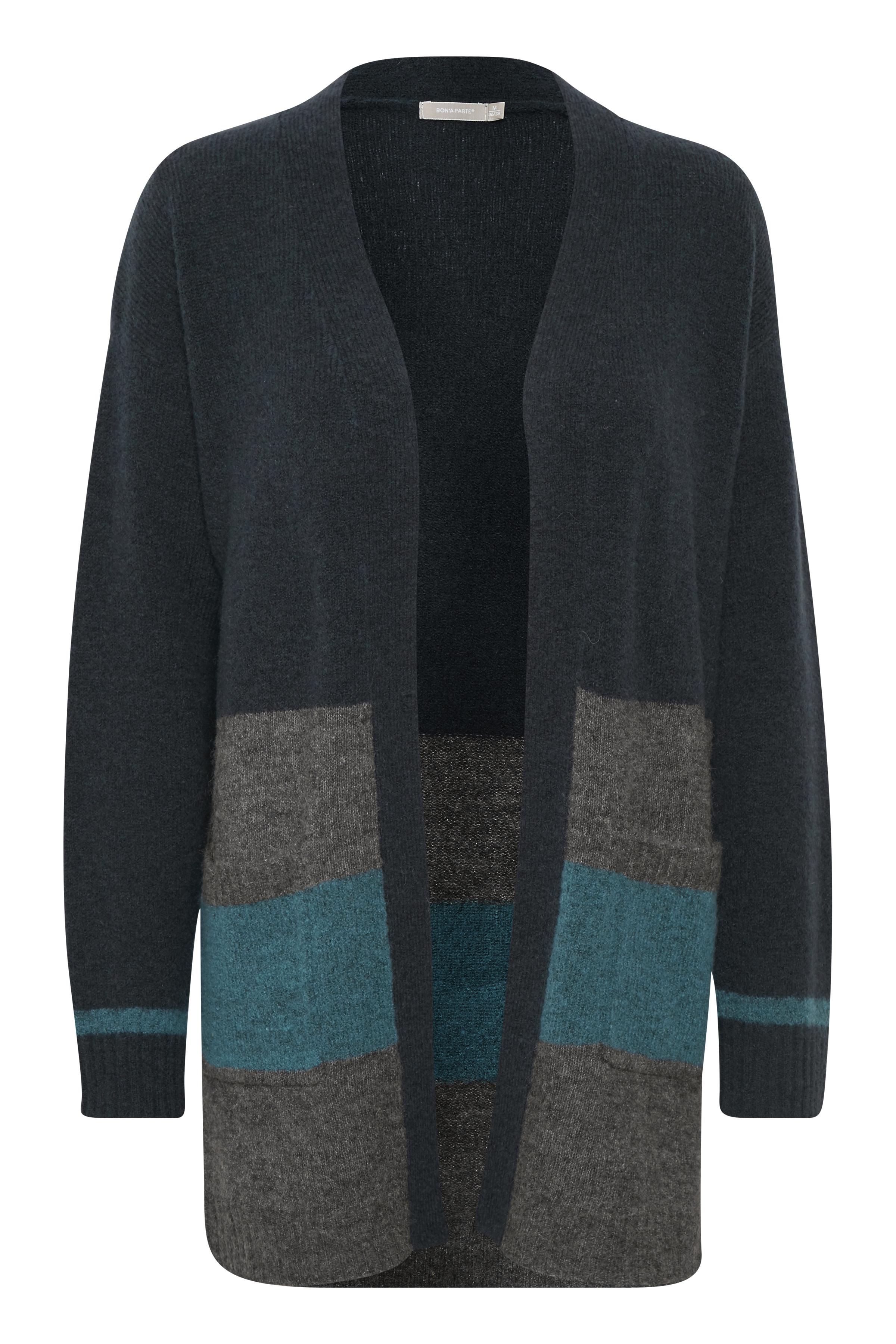 Marinblå/gråmelerad Stickad cardigan från Bon'A Parte – Köp Marinblå/gråmelerad Stickad cardigan från stl. S-2XL här