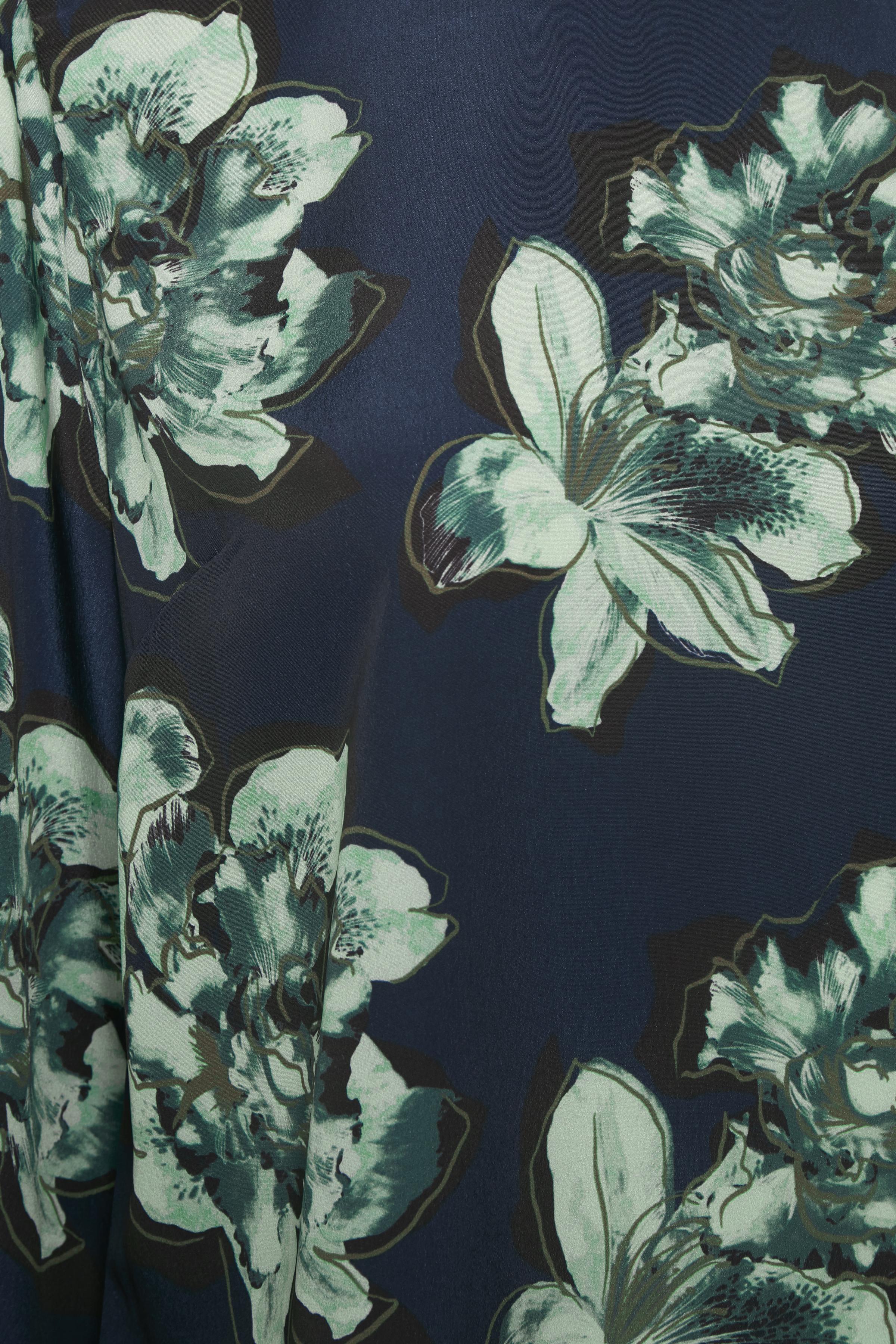 Marinblå/grön Långärmad blus från Bon'A Parte – Köp Marinblå/grön Långärmad blus från stl. S-2XL här