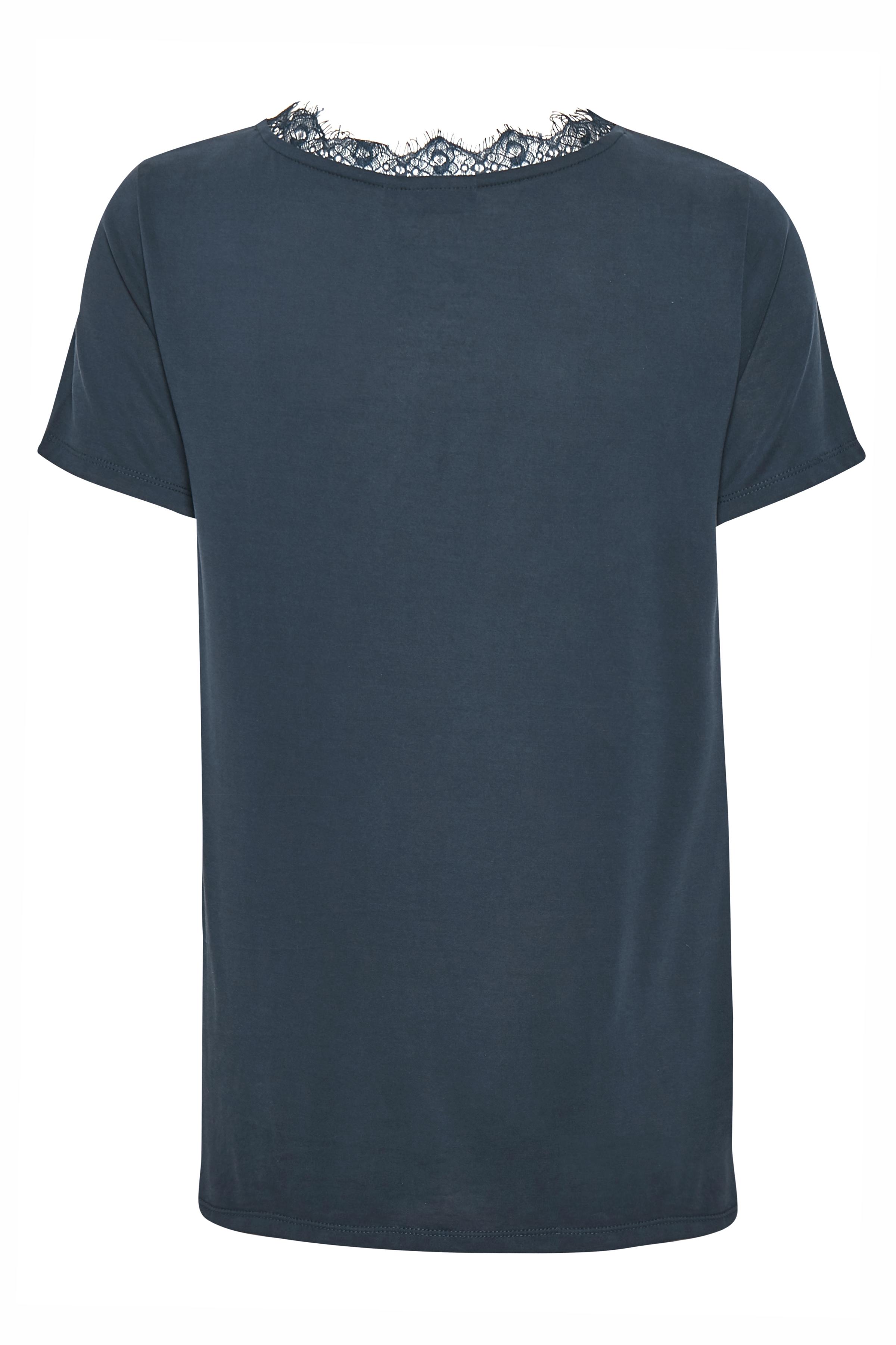 Marinblå Kortärmad blus  från Fransa – Köp Marinblå Kortärmad blus  från stl. XS-XXL här