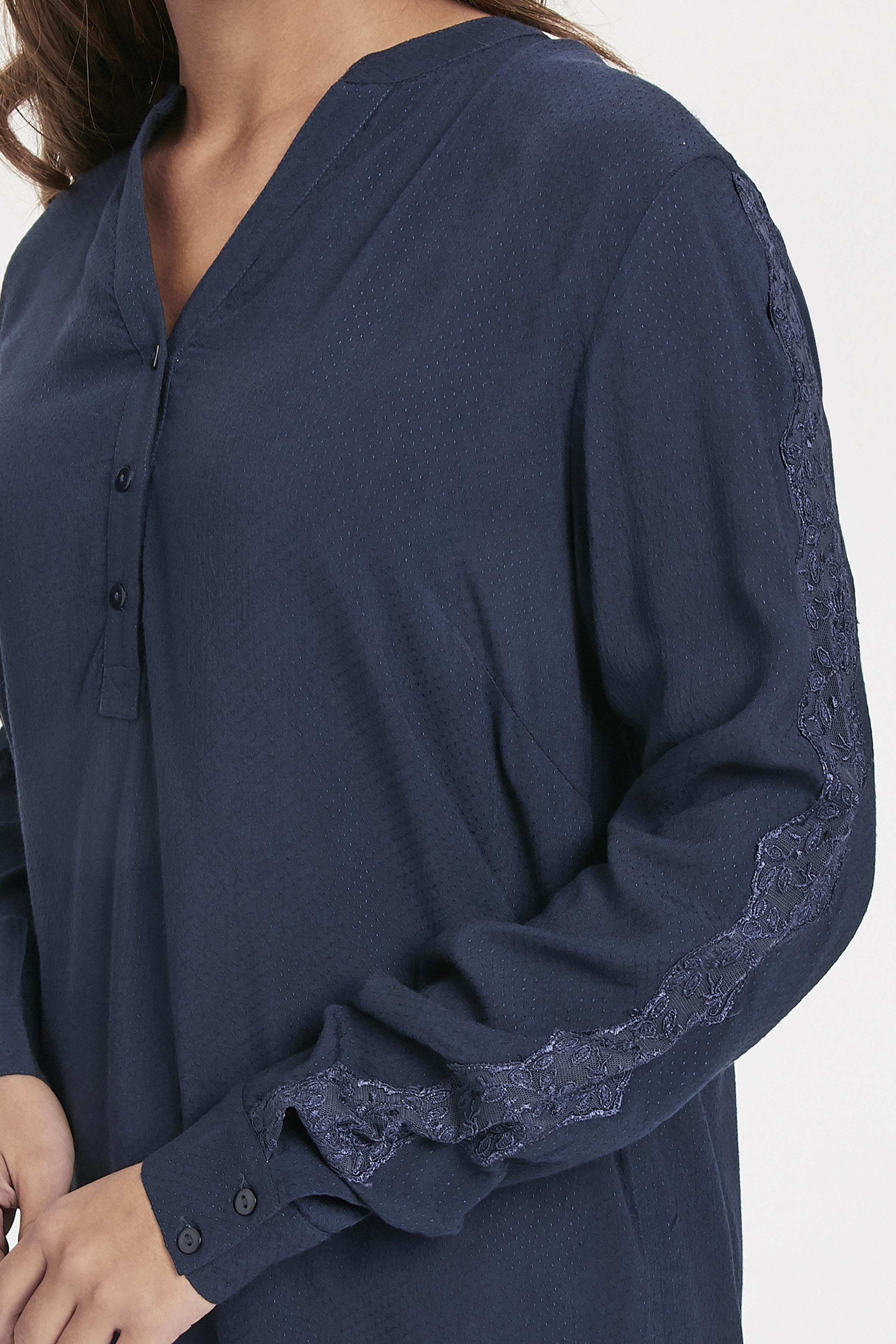 Marinblå Långärmad blus från Bon'A Parte – Köp Marinblå Långärmad blus från stl. S-2XL här