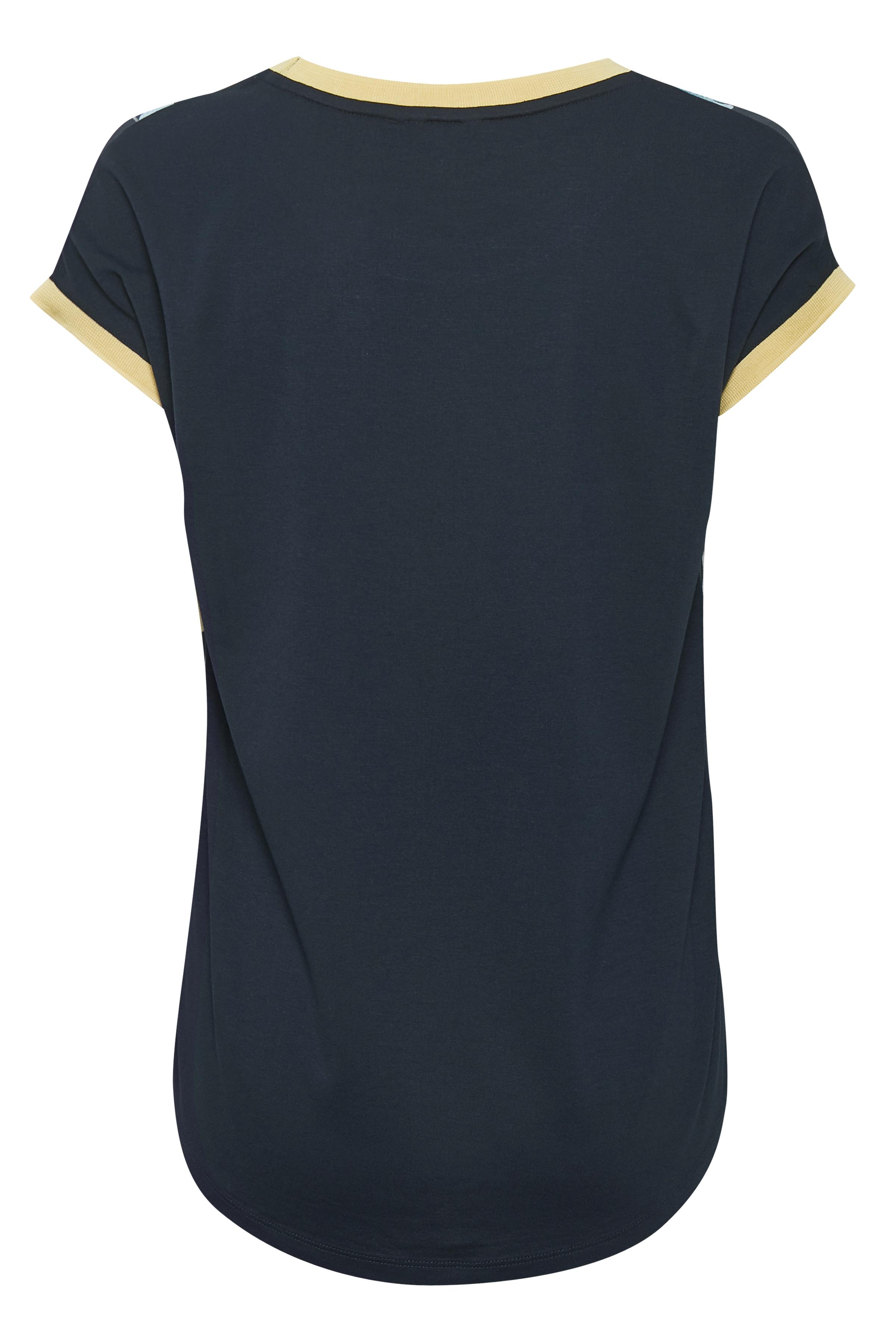 Marinblå/ljus gul Kortärmad blus  från Bon'A Parte – Köp Marinblå/ljus gul Kortärmad blus  från stl. S-2XL här