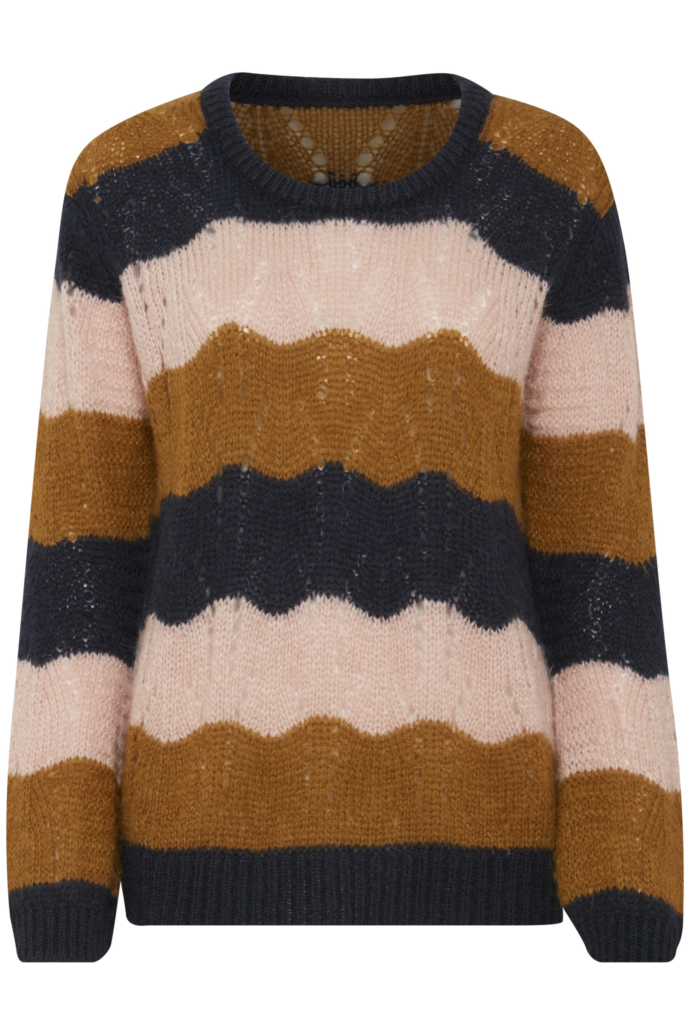 Marinblå/ljusbrun Stickad pullover från Dranella – Köp Marinblå/ljusbrun Stickad pullover från stl. XS-XXL här