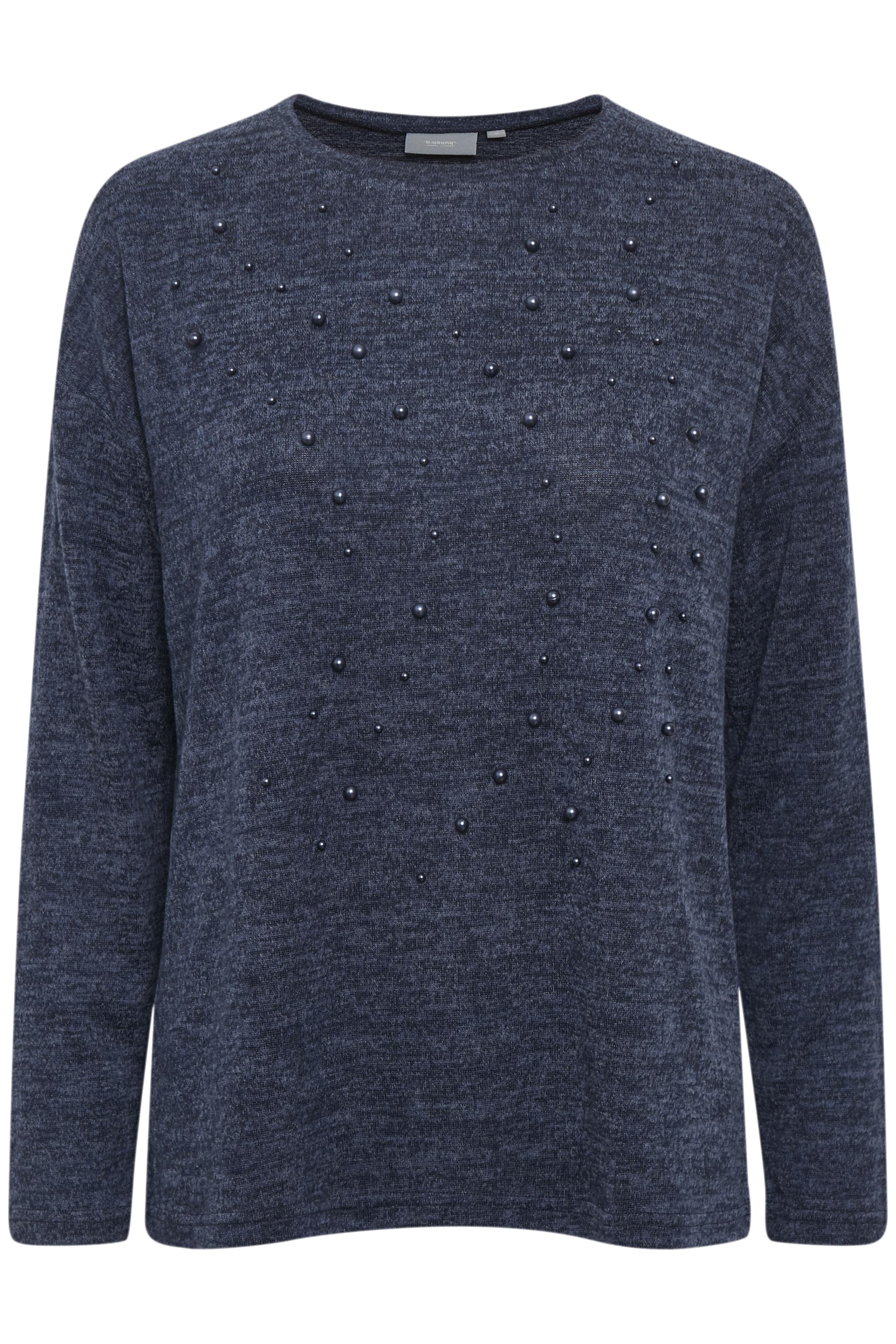 Marinblå melerad Långärmad blus från b.young – Köp Marinblå melerad Långärmad blus från stl. XS-XXL här
