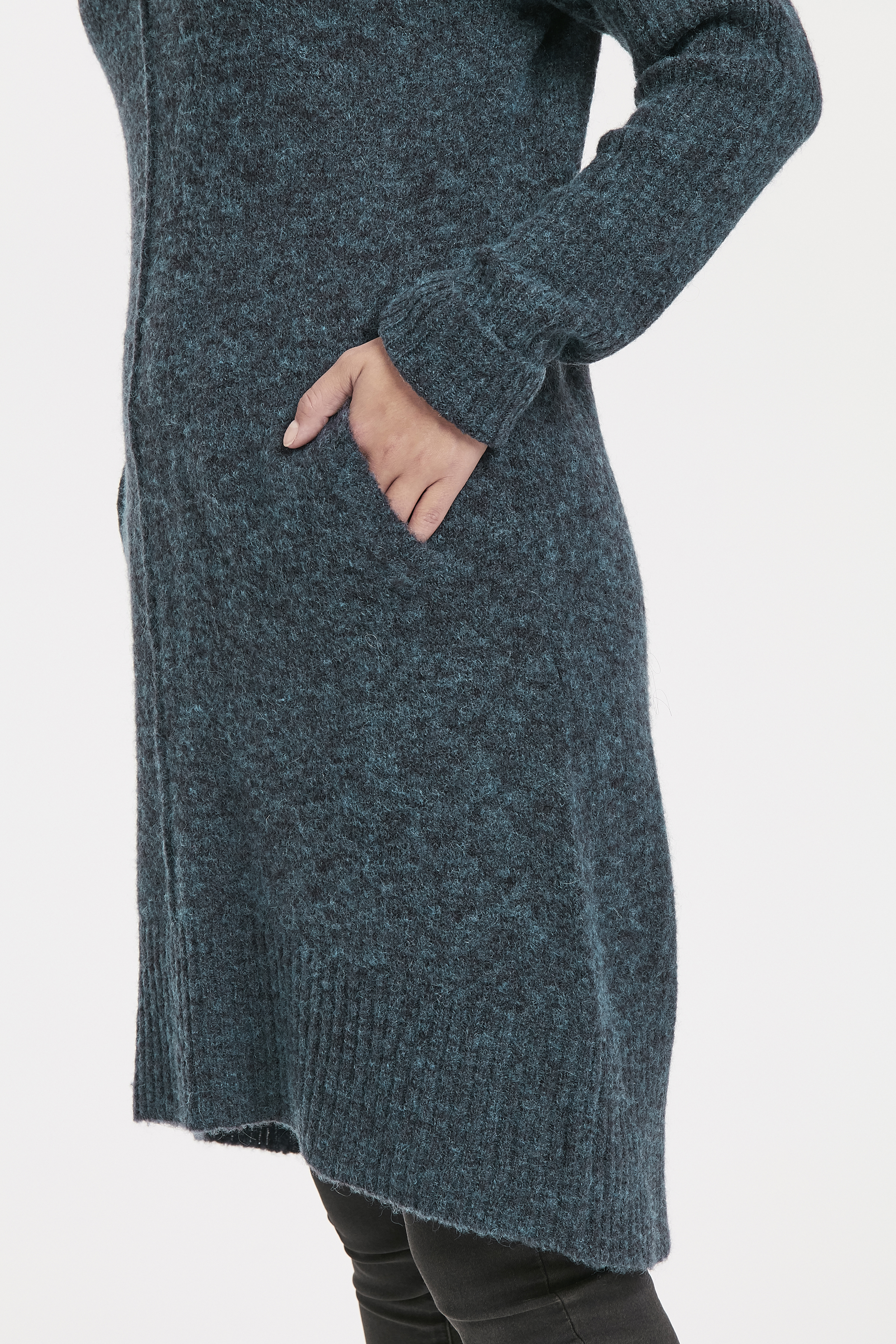 Marinblå melerad Stickad tunika från Bon'A Parte – Köp Marinblå melerad Stickad tunika från stl. S-2XL här
