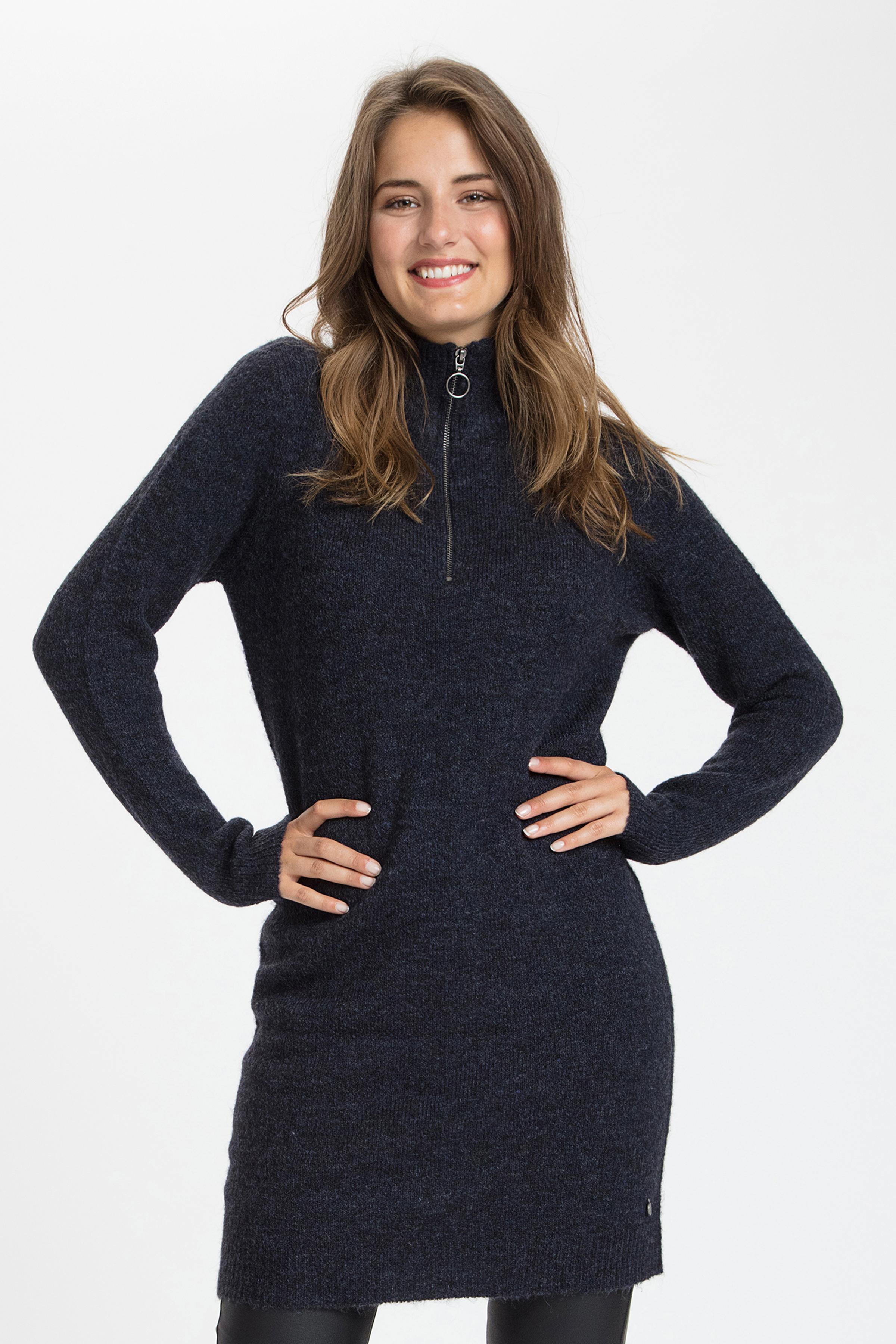 Marinblå melerad Strickad klänning från Fransa – Köp Marinblå melerad Strickad klänning från stl. XS-XXL här