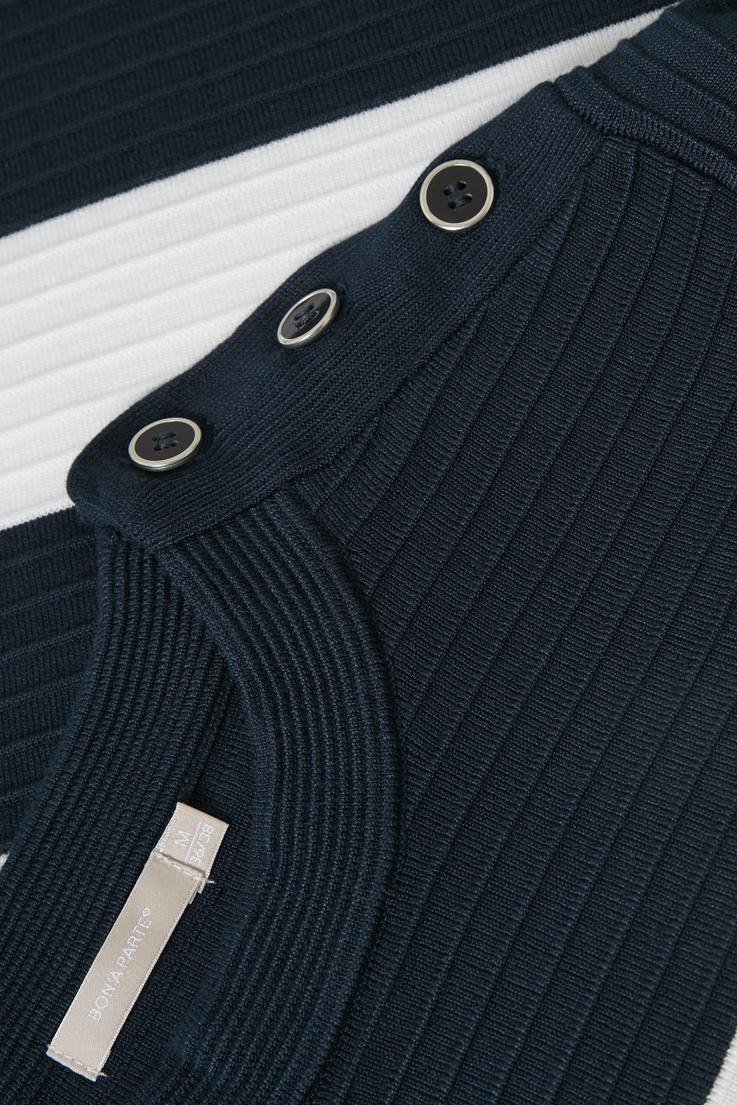 Marinblå/off-white Stickad tröja från Bon'A Parte – Köp Marinblå/off-white Stickad tröja från stl. S-2XL här