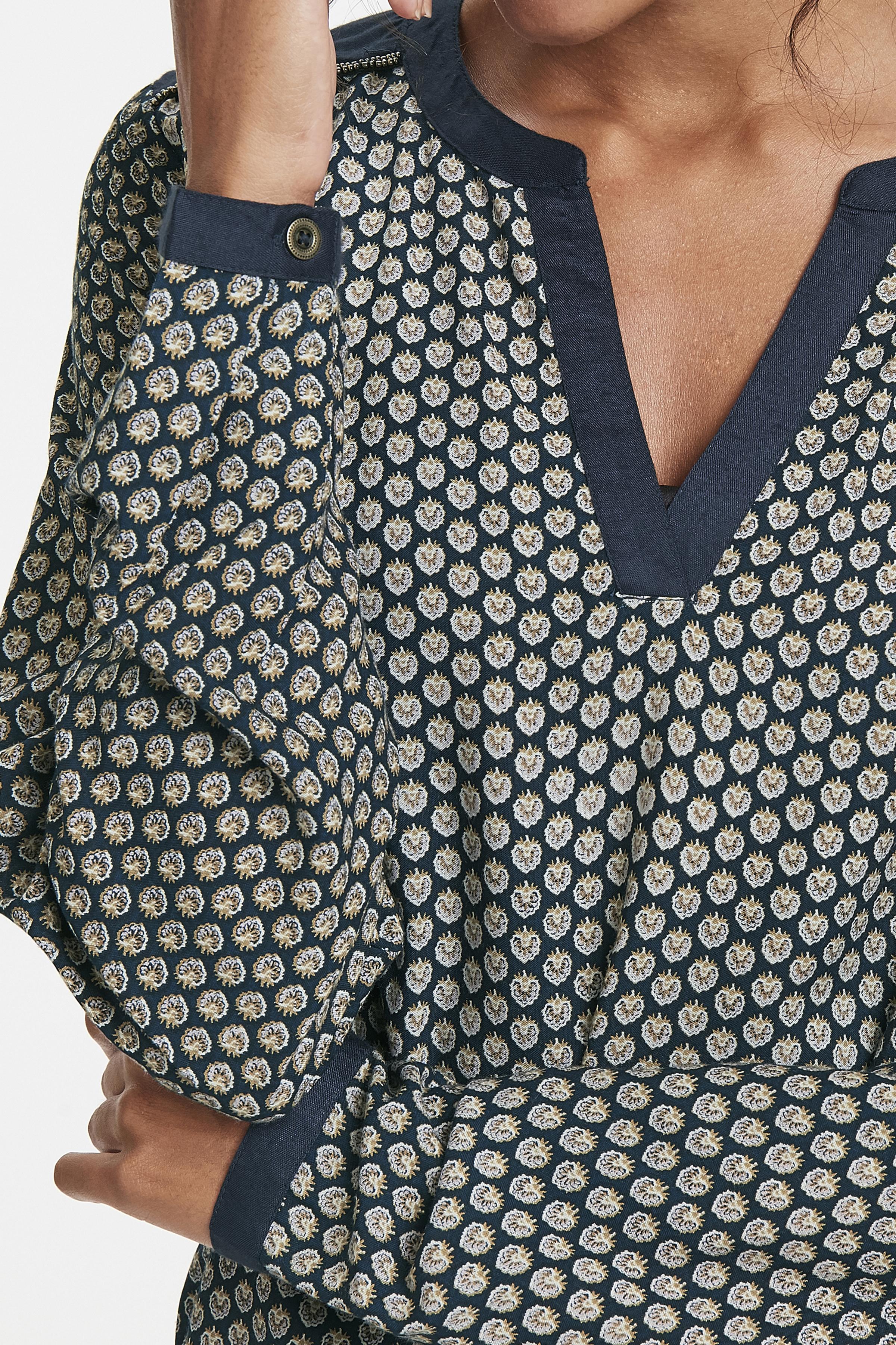 Marinblå/sand Långärmad blus från Bon'A Parte – Köp Marinblå/sand Långärmad blus från stl. S-2XL här