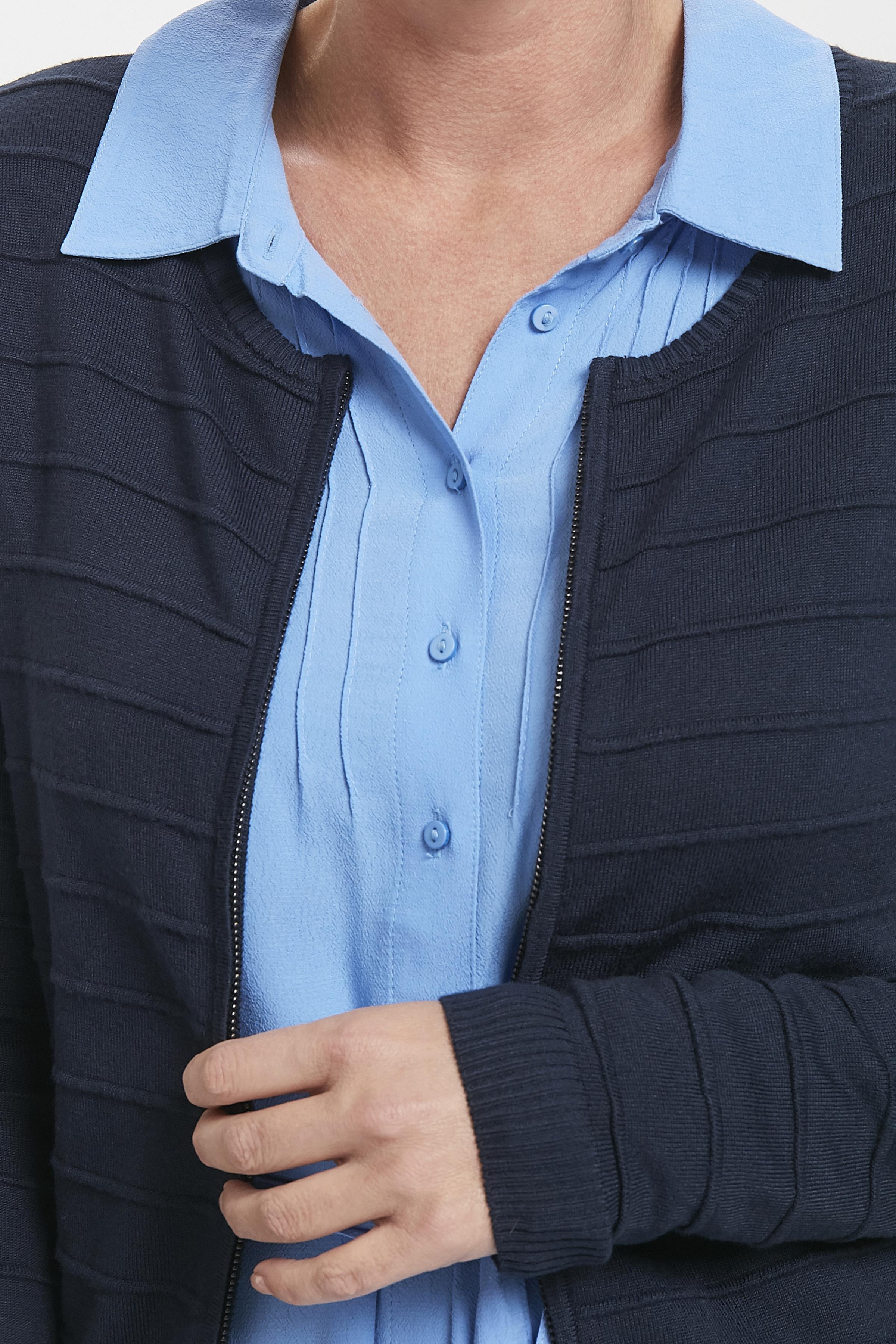 Marinblå Stickad cardigan från Bon'A Parte – Köp Marinblå Stickad cardigan från stl. S-2XL här