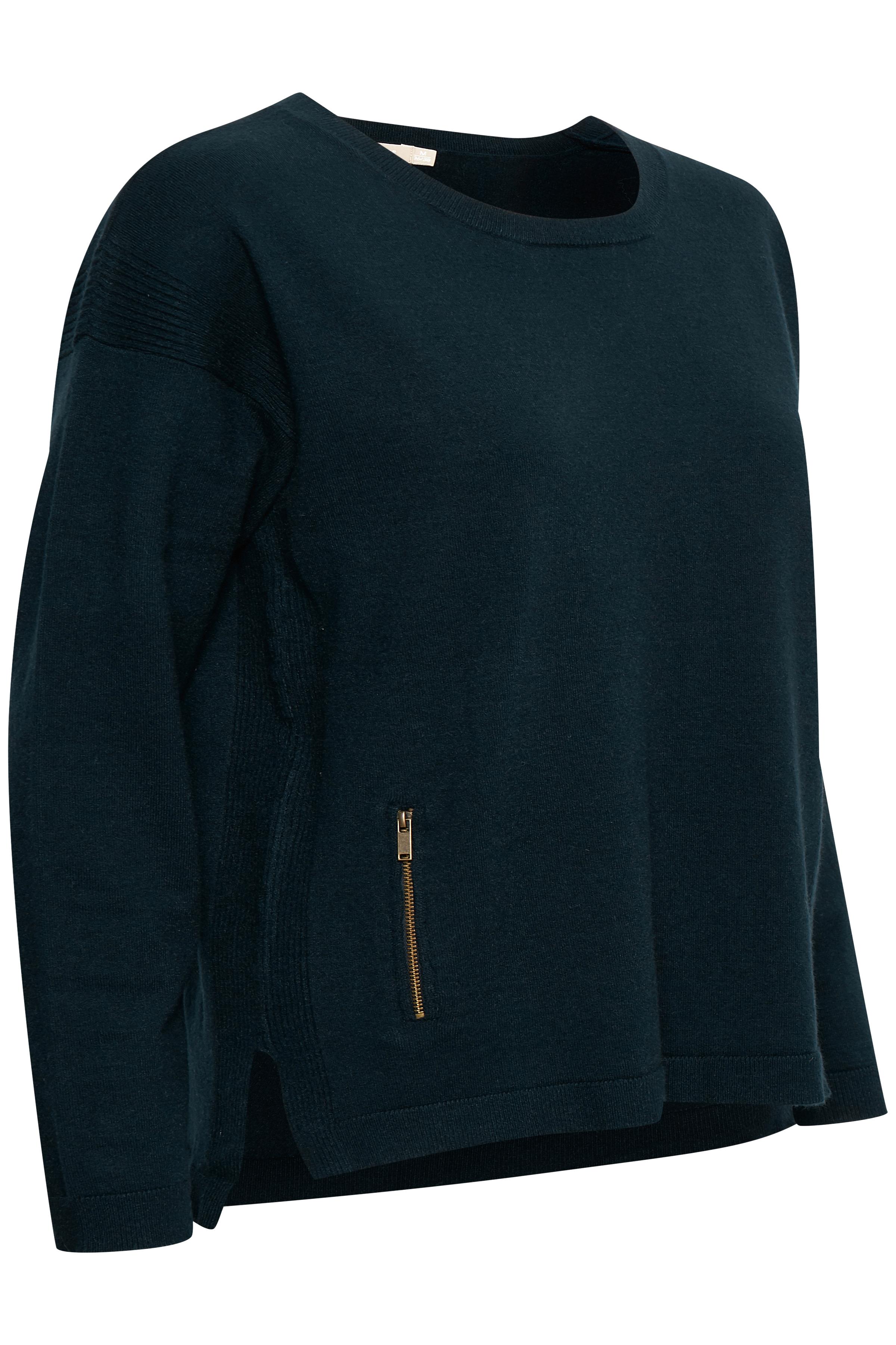 Marinblå Stickad pullover från Bon'A Parte – Köp Marinblå Stickad pullover från stl. S-2XL här