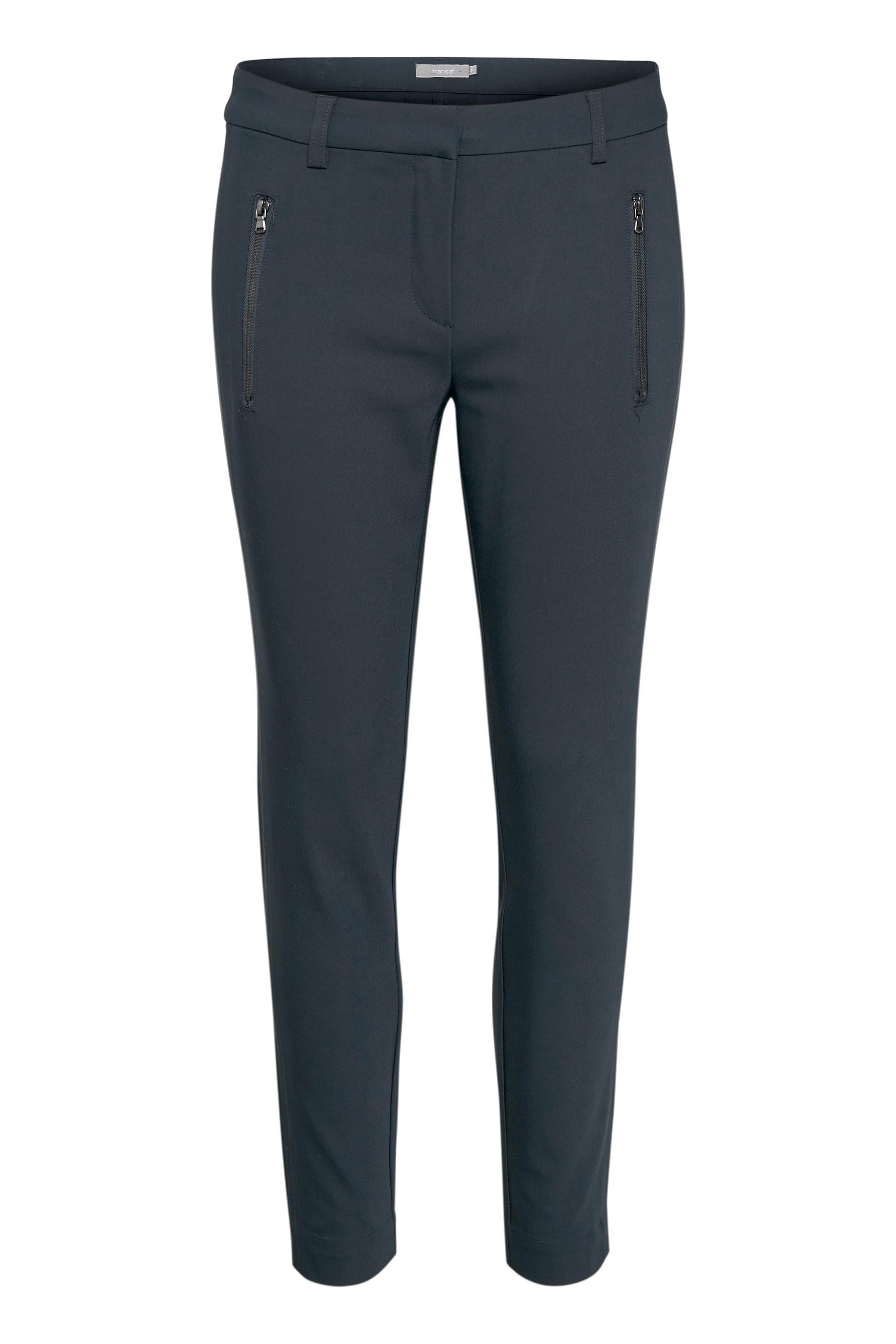 Image of Fransa Dame Ankelbukser med fast linning, bæltestropper og lynlås- og hægtelukning. Tætsiddende TOKYO fit - Marineblå