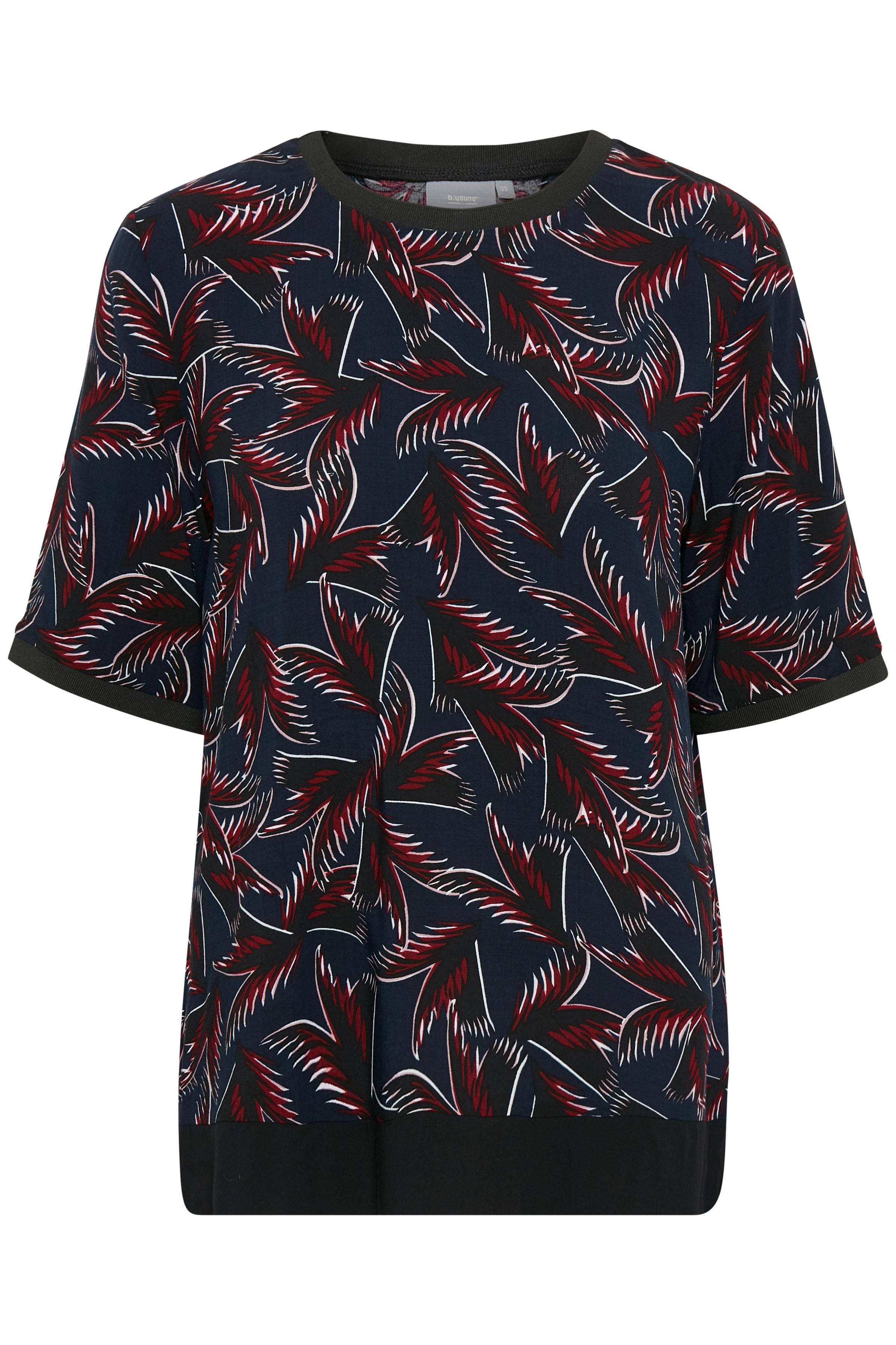 Marineblå/bordeaux Kortærmet bluse fra b.young – Køb Marineblå/bordeaux Kortærmet bluse fra str. 34-46 her
