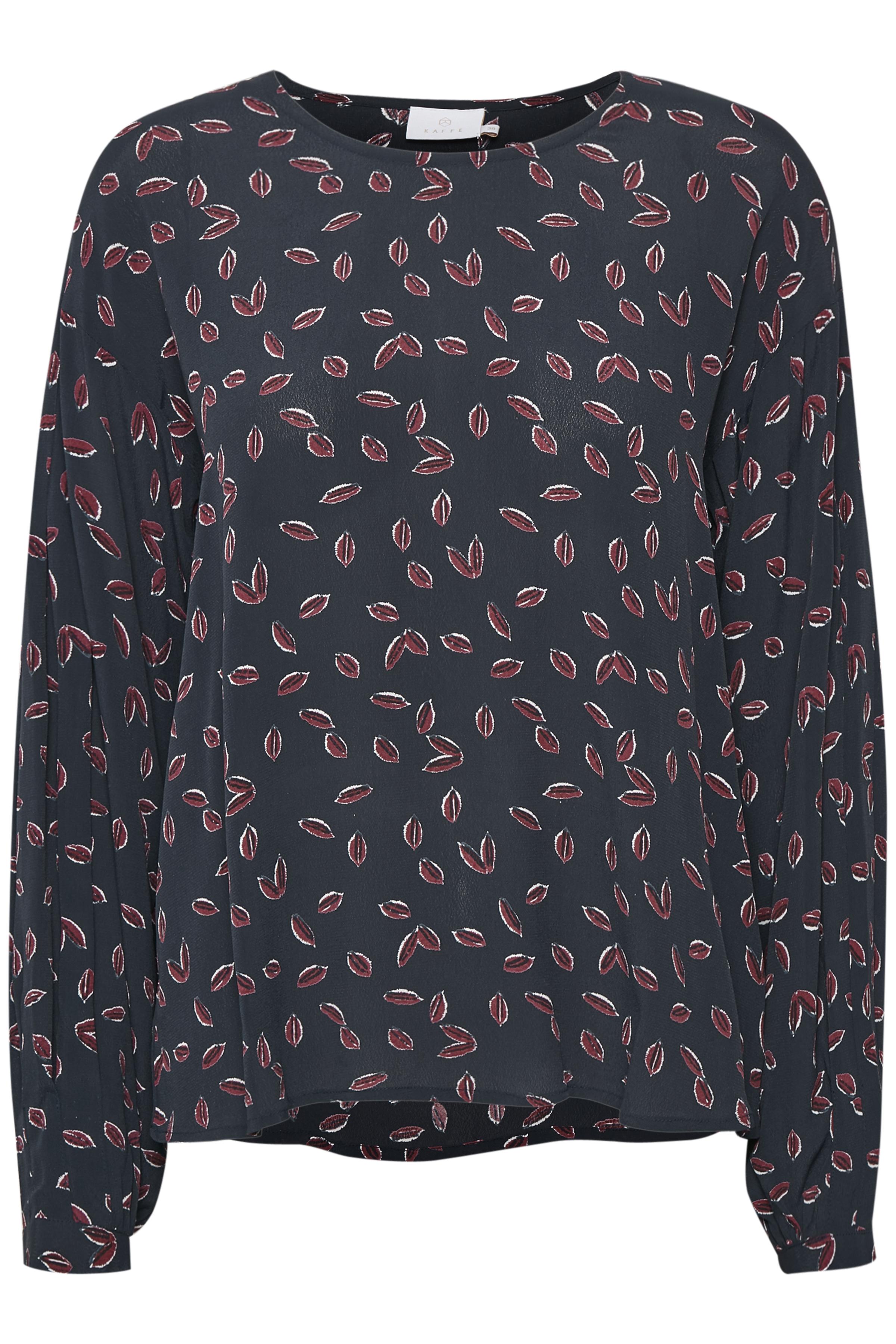 Marineblå/bordeaux Langærmet bluse fra Kaffe – Køb Marineblå/bordeaux Langærmet bluse fra str. 34-46 her