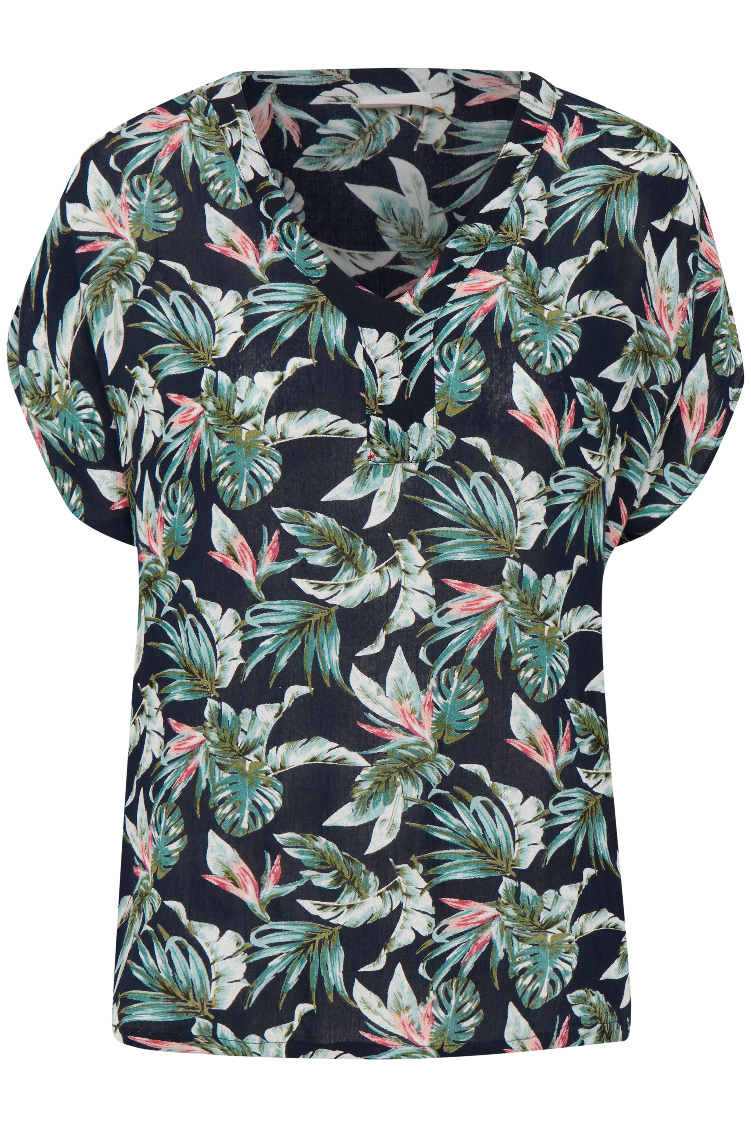Marineblå/grøn Kortærmet bluse fra Kaffe – Køb Marineblå/grøn Kortærmet bluse fra str. 34-46 her