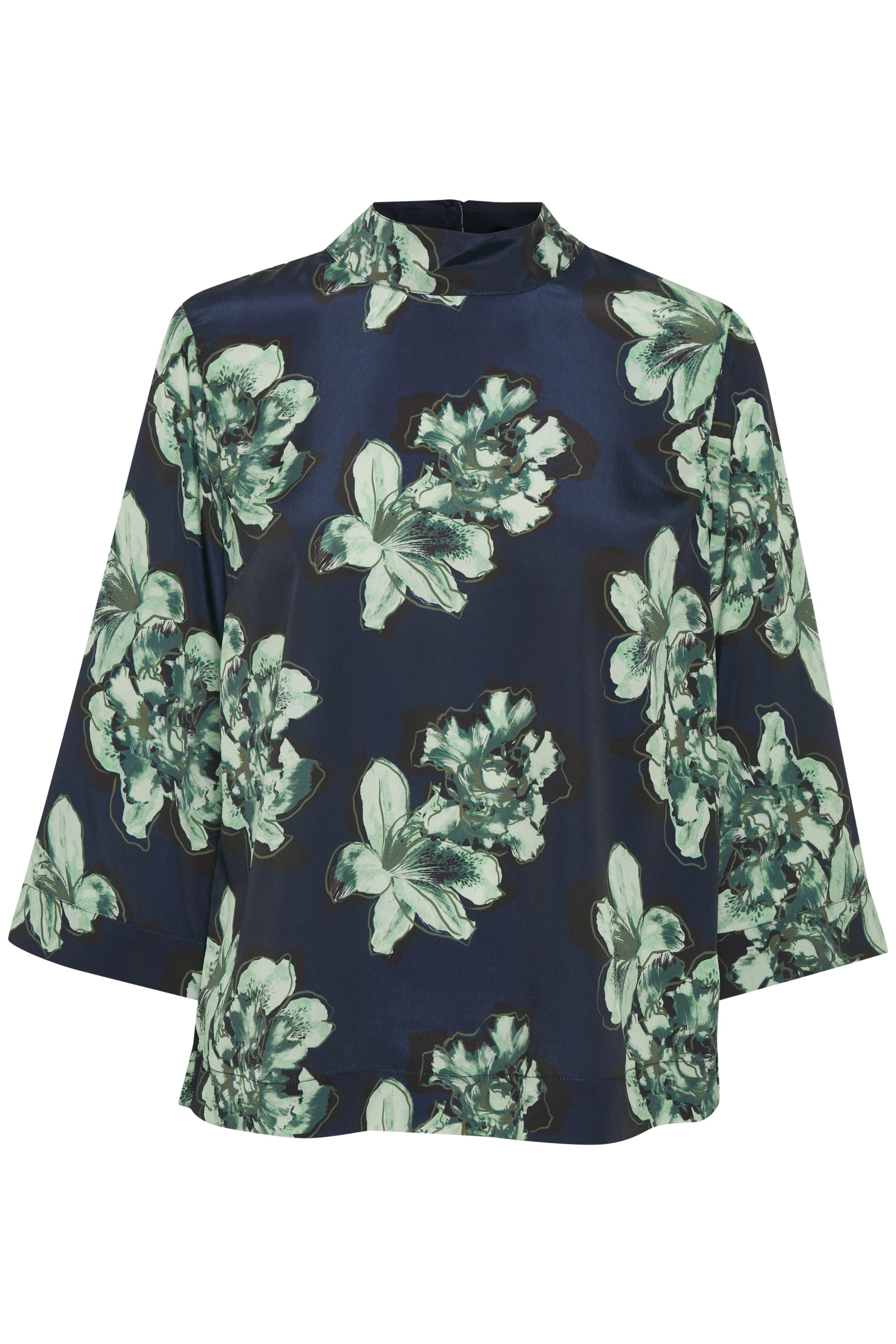 Marineblå/grøn Langærmet bluse fra Bon'A Parte – Køb Marineblå/grøn Langærmet bluse fra str. S-2XL her